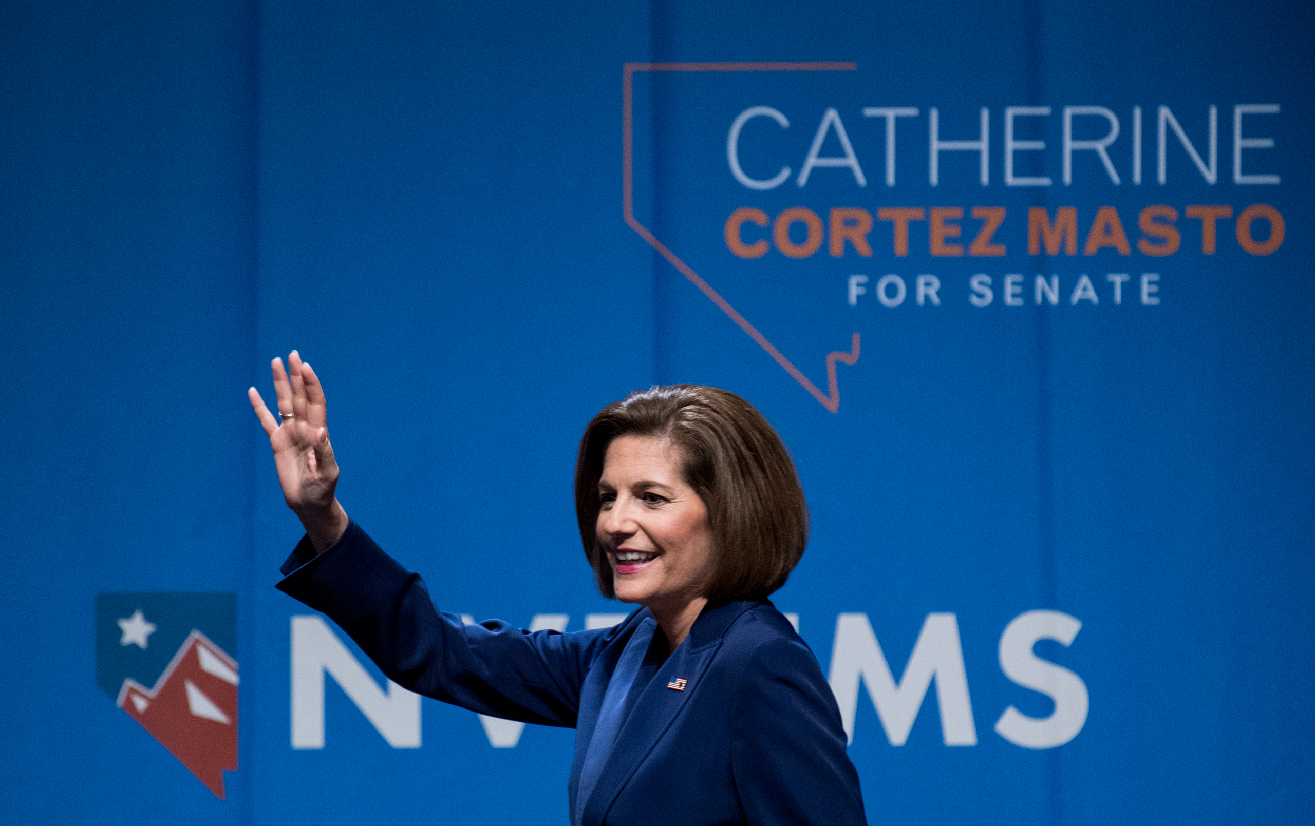 Catherine Cortez Masto, Democratic candidate for U.S. Senate from Nevada, delivers her victory speech at the Nevada Democrats' election night watch party at the Aria Hotel & Resort in Las Vegas  on Nov. 8, 2016.