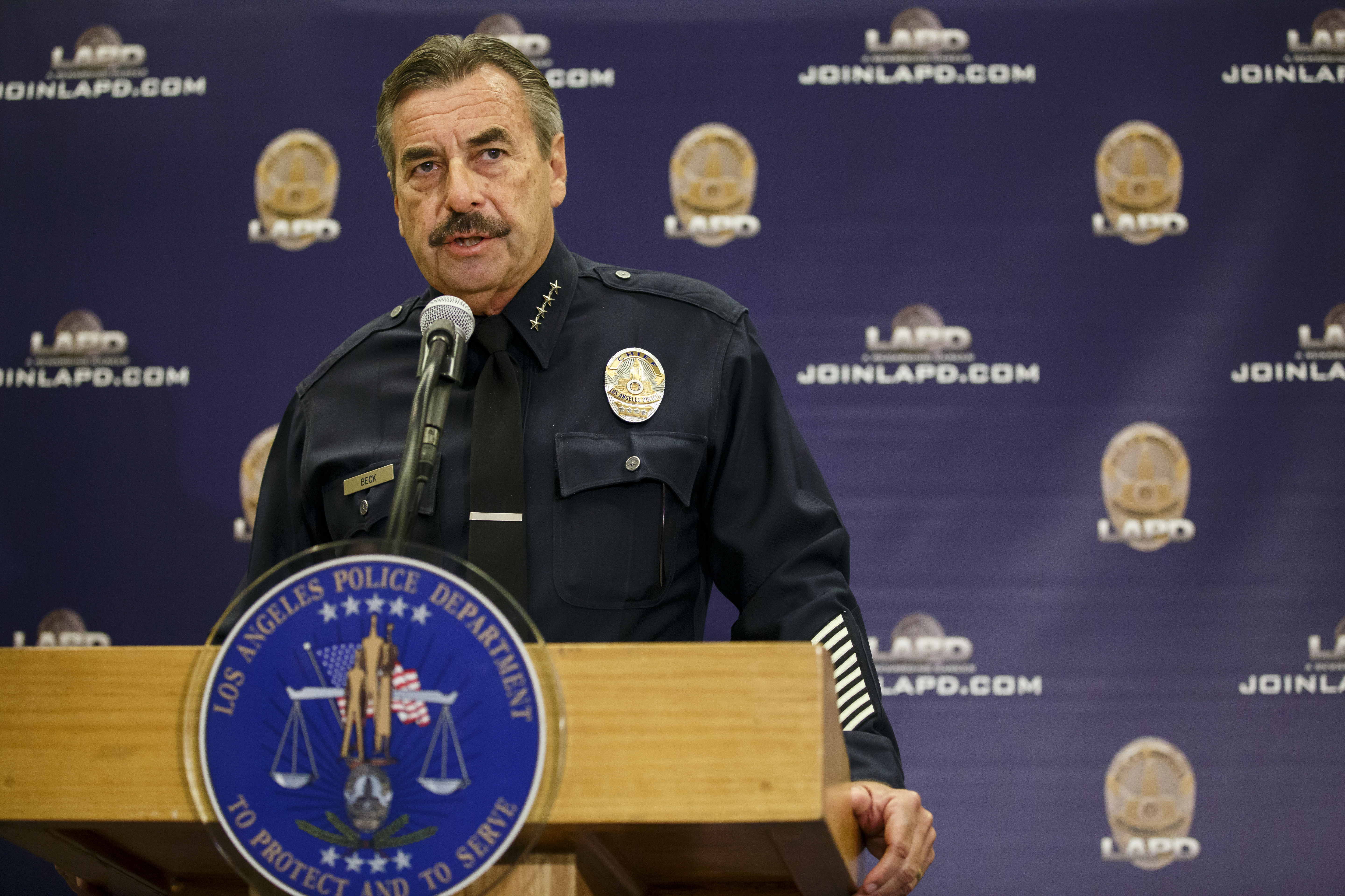 LAPD Chief Charlie Beck speaks during a press conference to address the two recent officer-involved-shooting in Los Angeles, Calif., on Oct. 3, 2016.