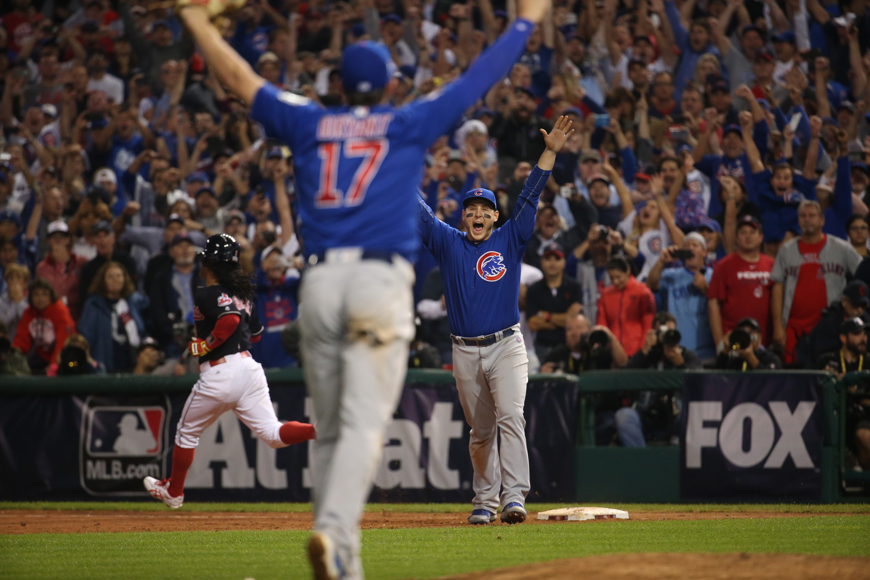 The Chicago Cubs celebrate after defeating the Cleveland Indians, Nov. 3, 2016 in Game 7 to win the World Series at Progressive Field in Cleveland, Ohio.