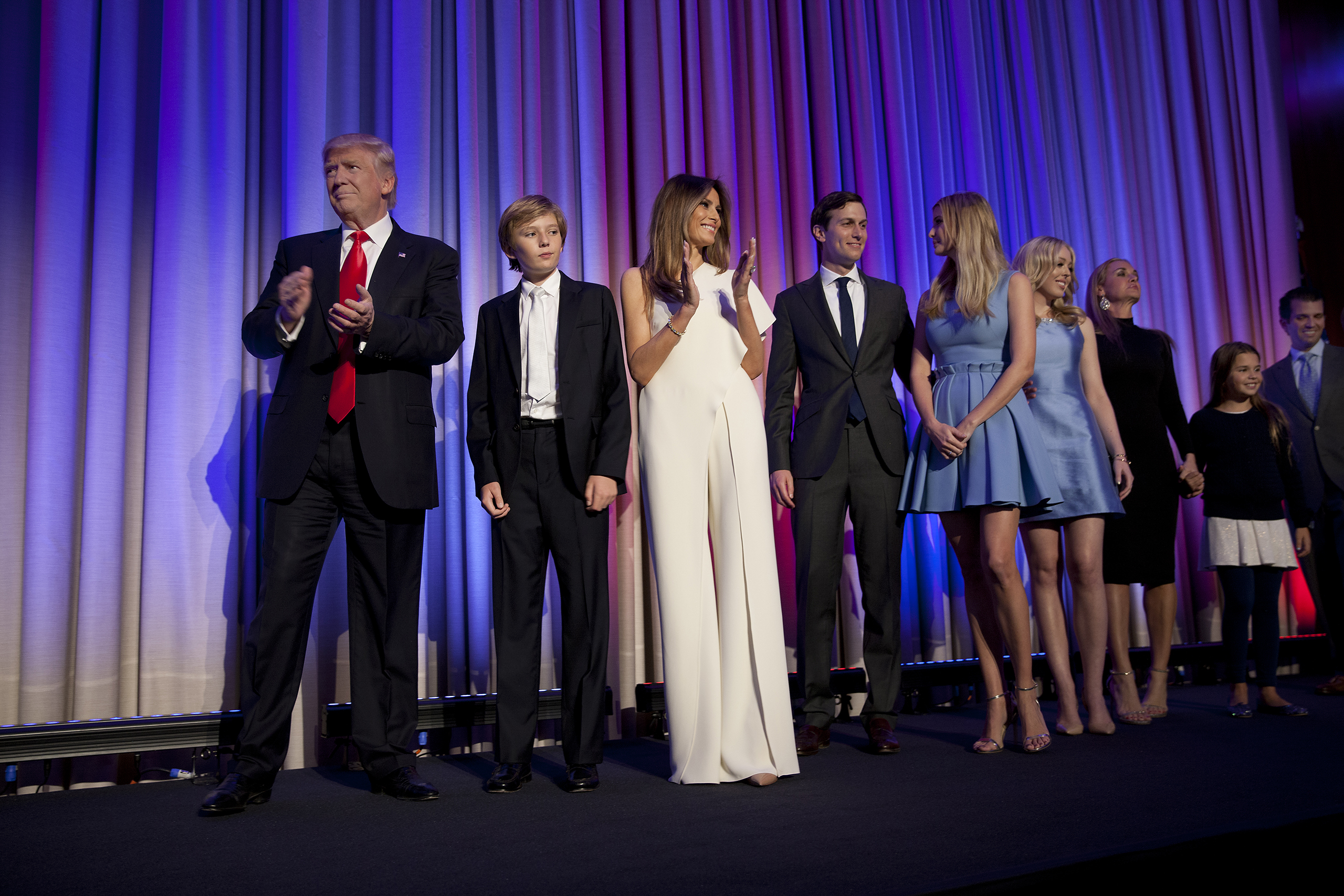 Trump arrives with his family to greet the crowd at his victory celebration in New York on Nov. 9