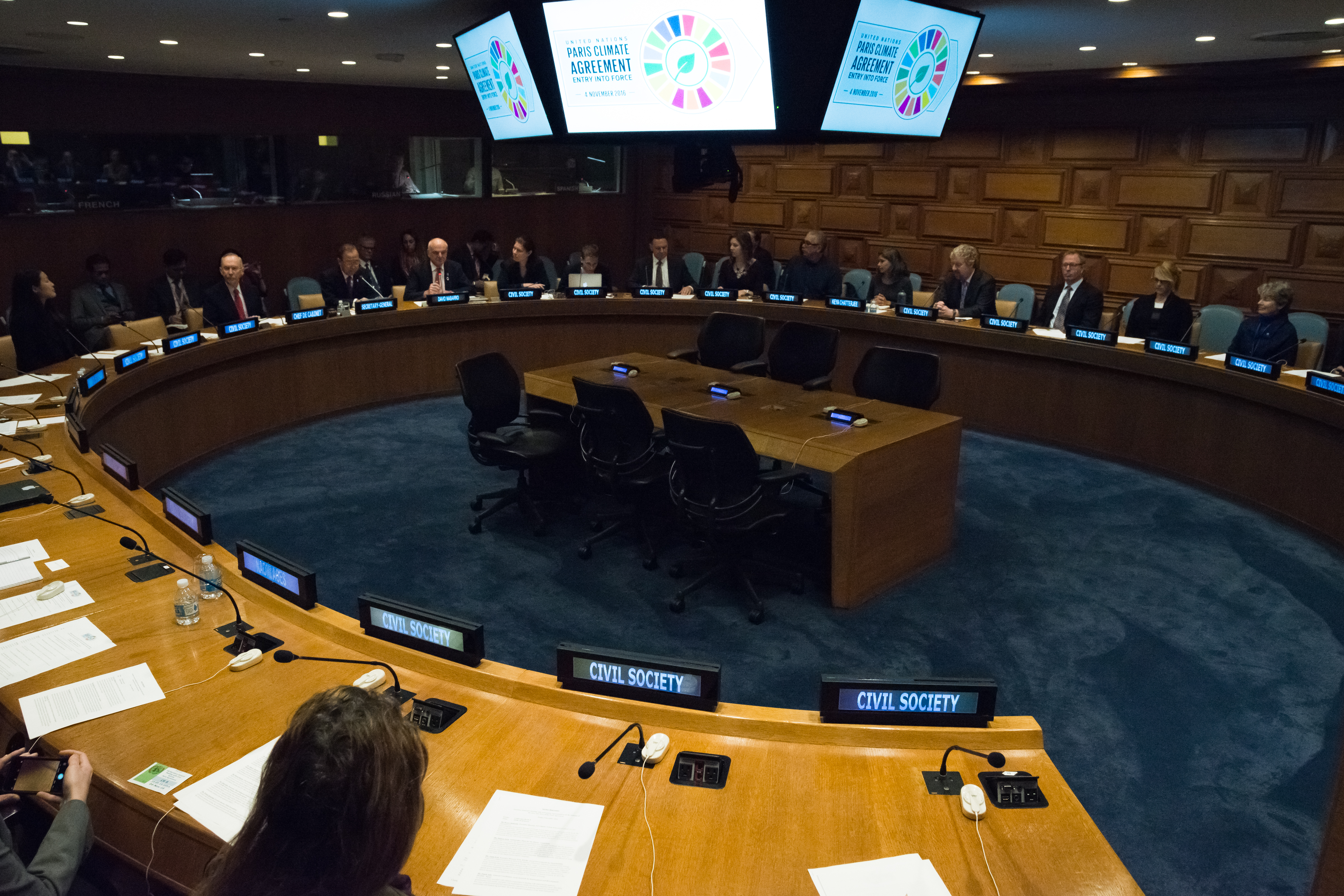 To mark the occasion of the Paris Climate Agreement's entry into force (November 4), United Nations Secretary-General Ban Ki-moon attended a meeting of civic society leaders in Conference Room 8 at UN Headquarters in New York City.