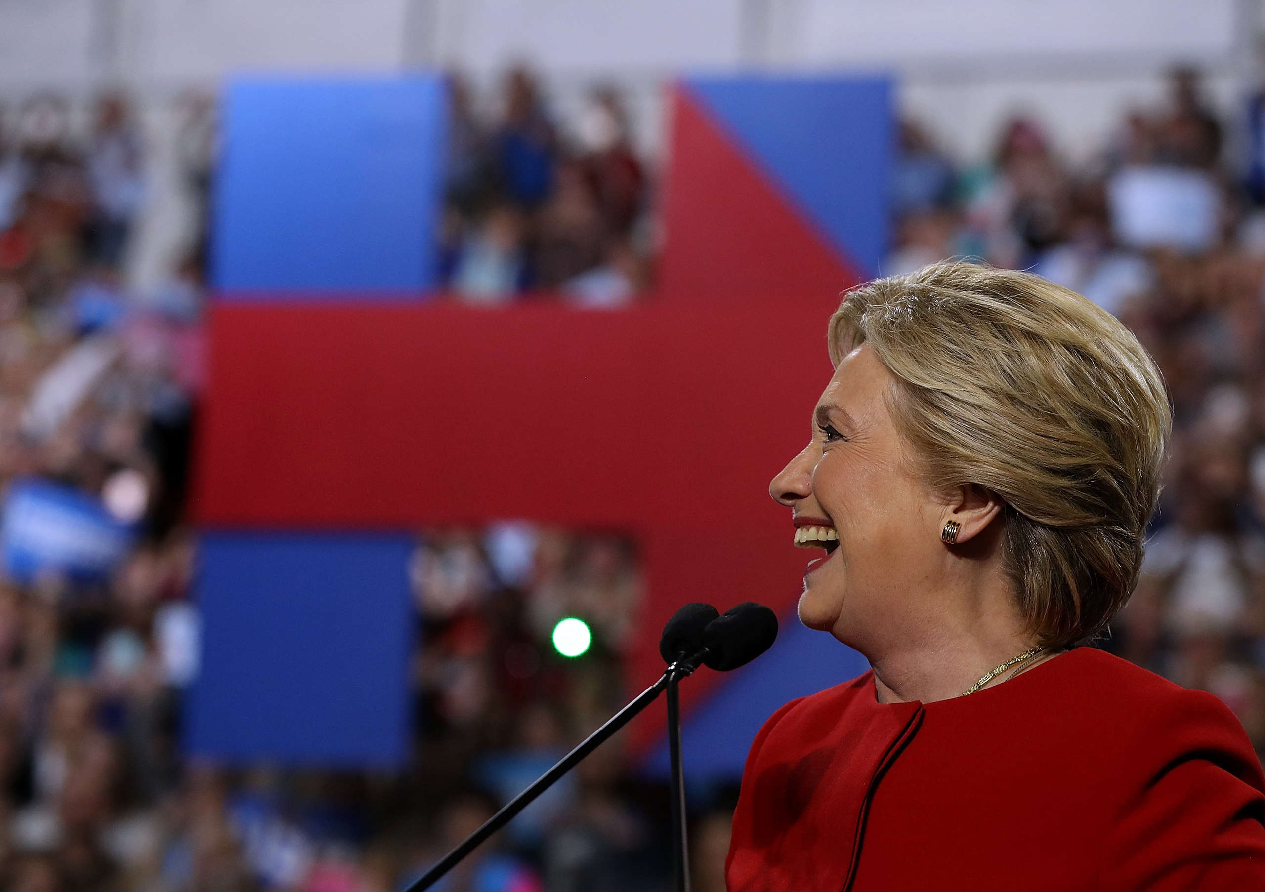 Democratic presidential nominee  Hillary Clinton speaks during a campaign rally at Grand Valley State University in Allendale, Mi., on Nov. 7, 2016.