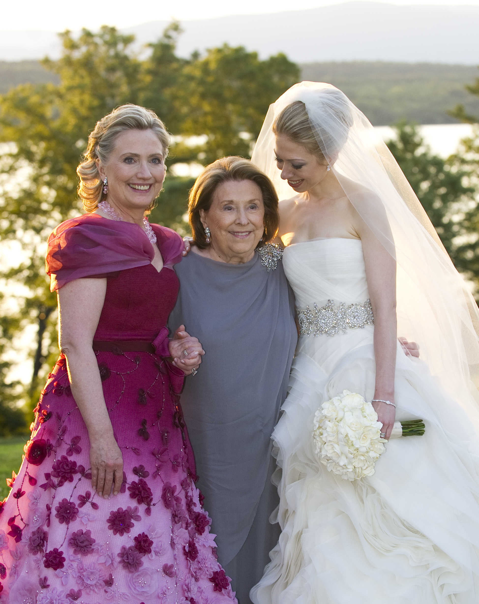 In this handout image provided by Barbara Kinney, (L-R) U.S. Secretary of State Hillary Clinton, her mother Dorothy Rodham and Chelsea Clinton pose during the wedding of Chelsea Clinton and Marc Mezvinsky at the Astor Courts Estate in Rhinebeck, N.Y., on July 31, 2010.