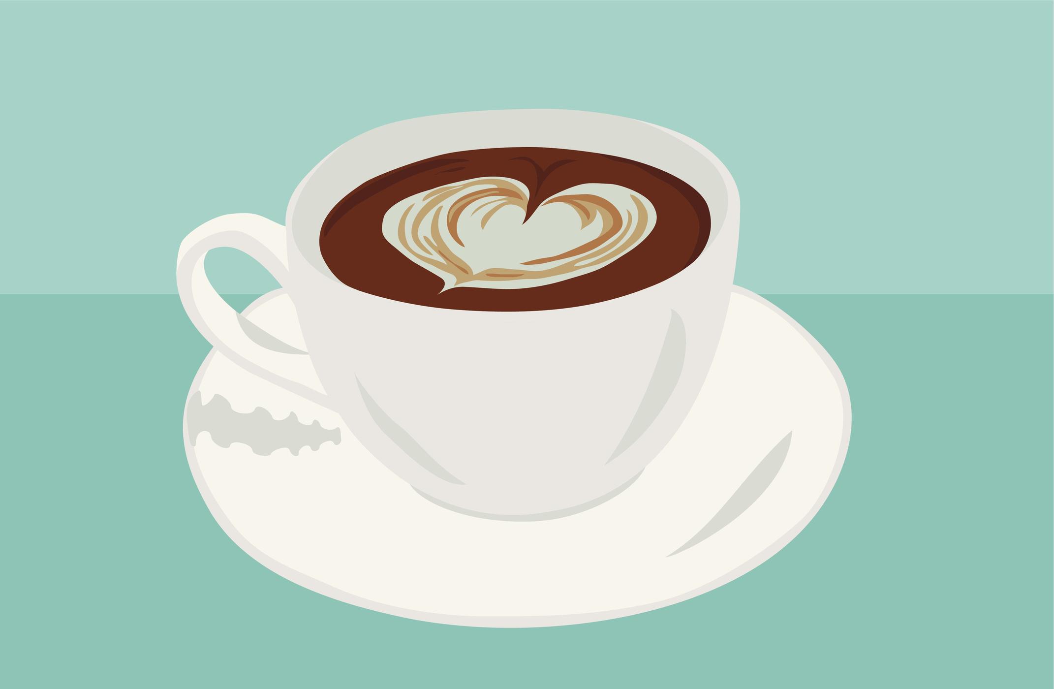 heart shape in coffee vector illustration
