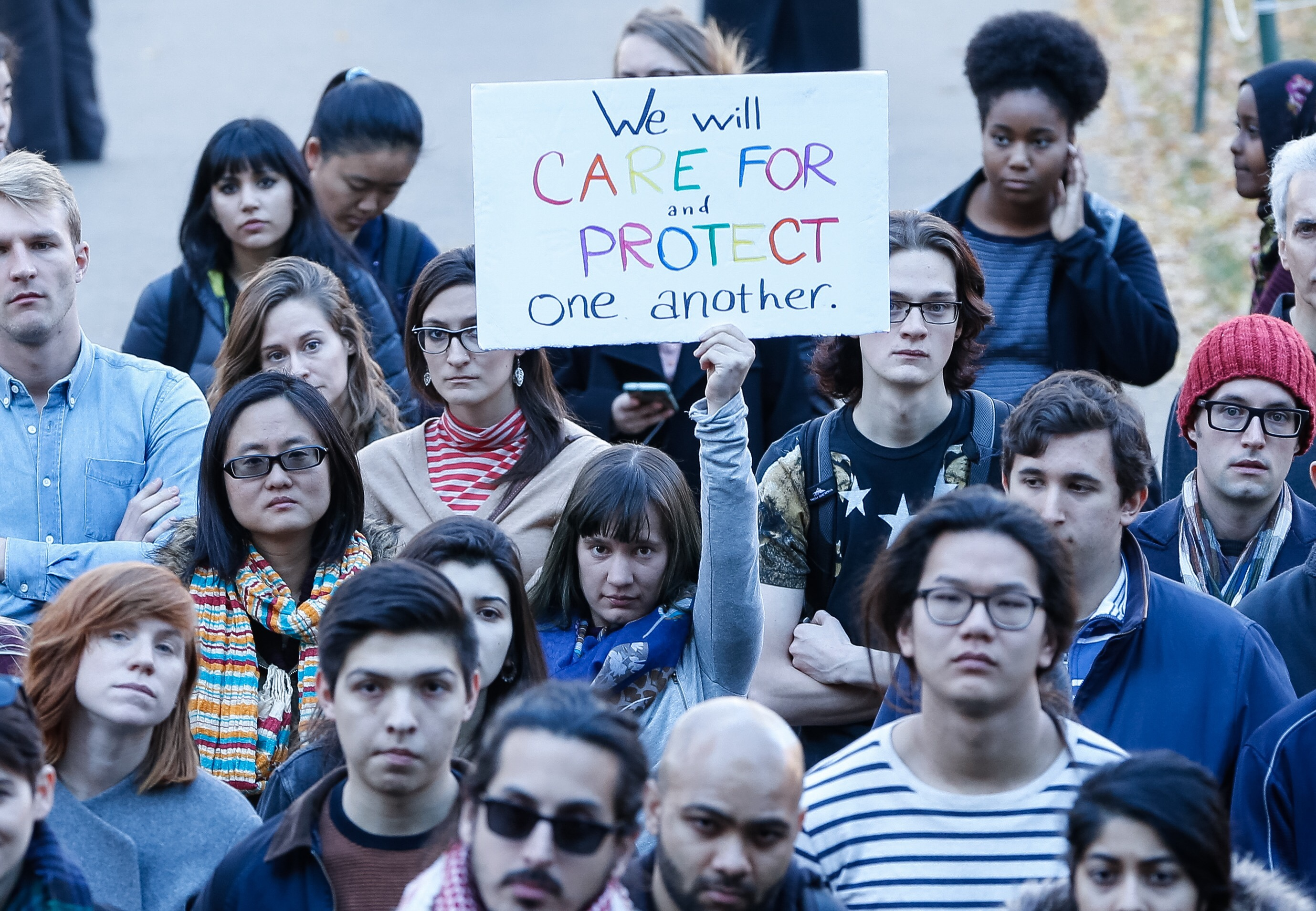 Protesters take part in a rally to show support for and to protect undocumented students at Harvard University on the school's grounds in Cambridge, Mass., on Nov. 14, 2016.