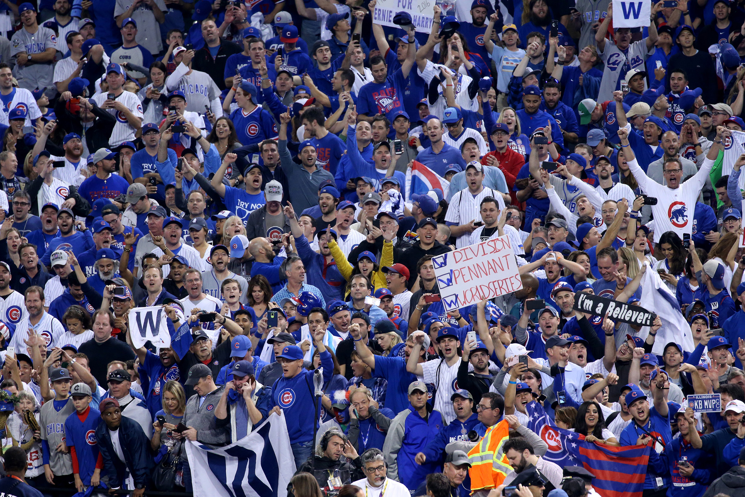 Cubs fans celebrate the Chicago Cubs winning the World Series at the end of Game 7, on Nov. 3, 2016, at Progressive Field in Cleveland.