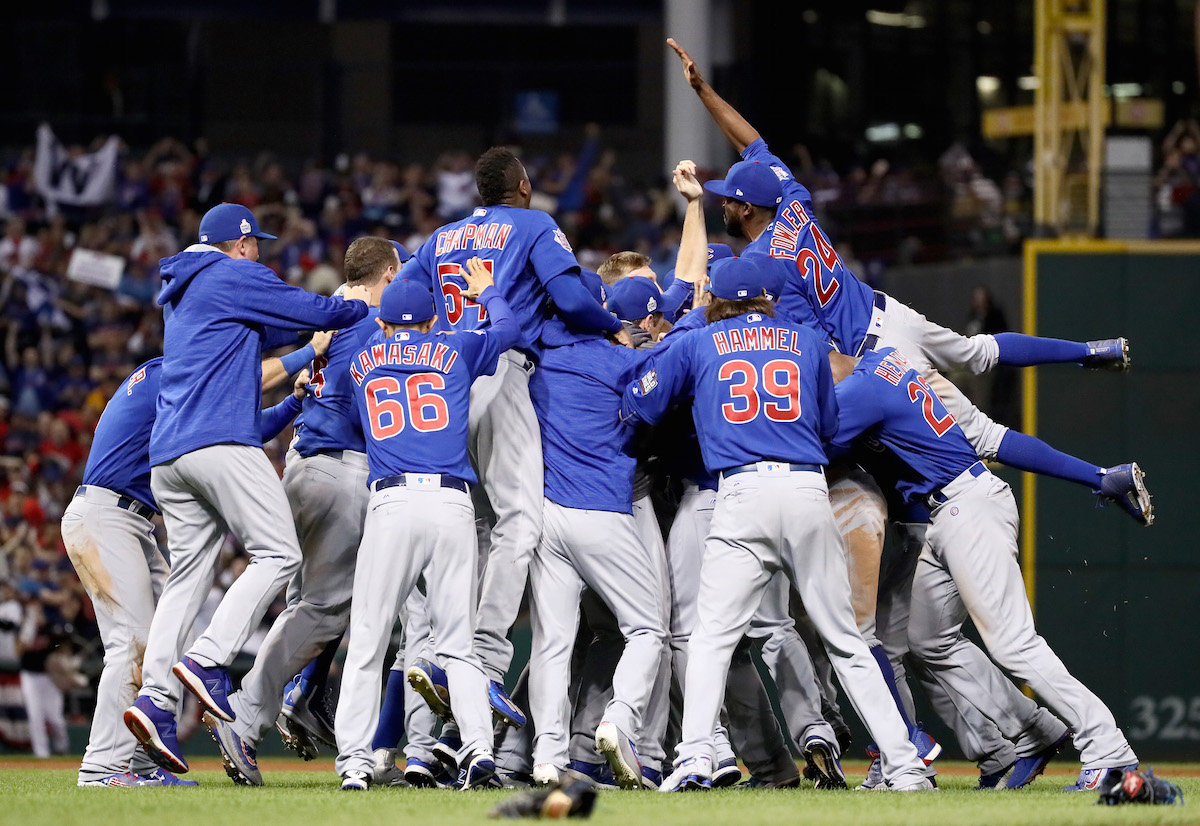 The Chicago Cubs celebrate after winning 8-7 against the Cleveland Indians in Game Seven of the 2016 World Series at Progressive Field on Nov. 2, 2016 in Cleveland