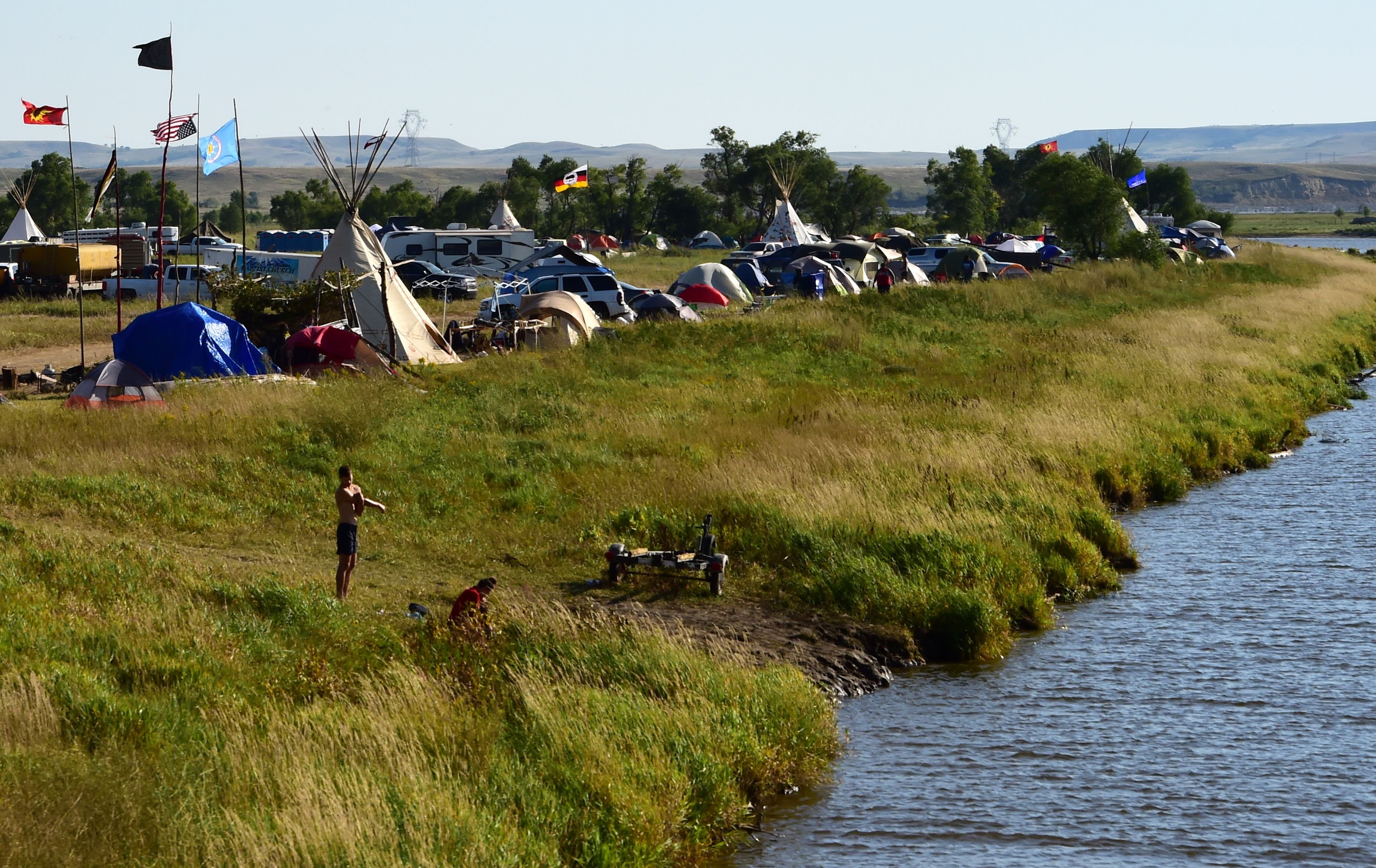 A view of a protest encampment near Cannon Ball, North Dakota where members of some 200 Native American tribes from across the U.S. and Canada have gathered to lend their support to the Standing Rock Sioux Tribe's opposition to the Dakota Access Pipeline on Sept. 3, 2016.
