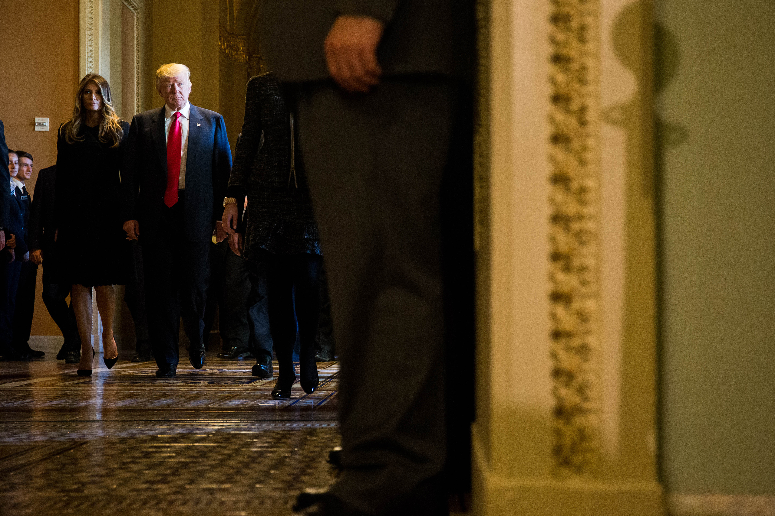 Donald Trump along with his wife Melania Trump leave a meeting with Senate Majority Leader Mitch McConnell at the U.S. Capitol on Nov.10, 2016 in Washington, DC.