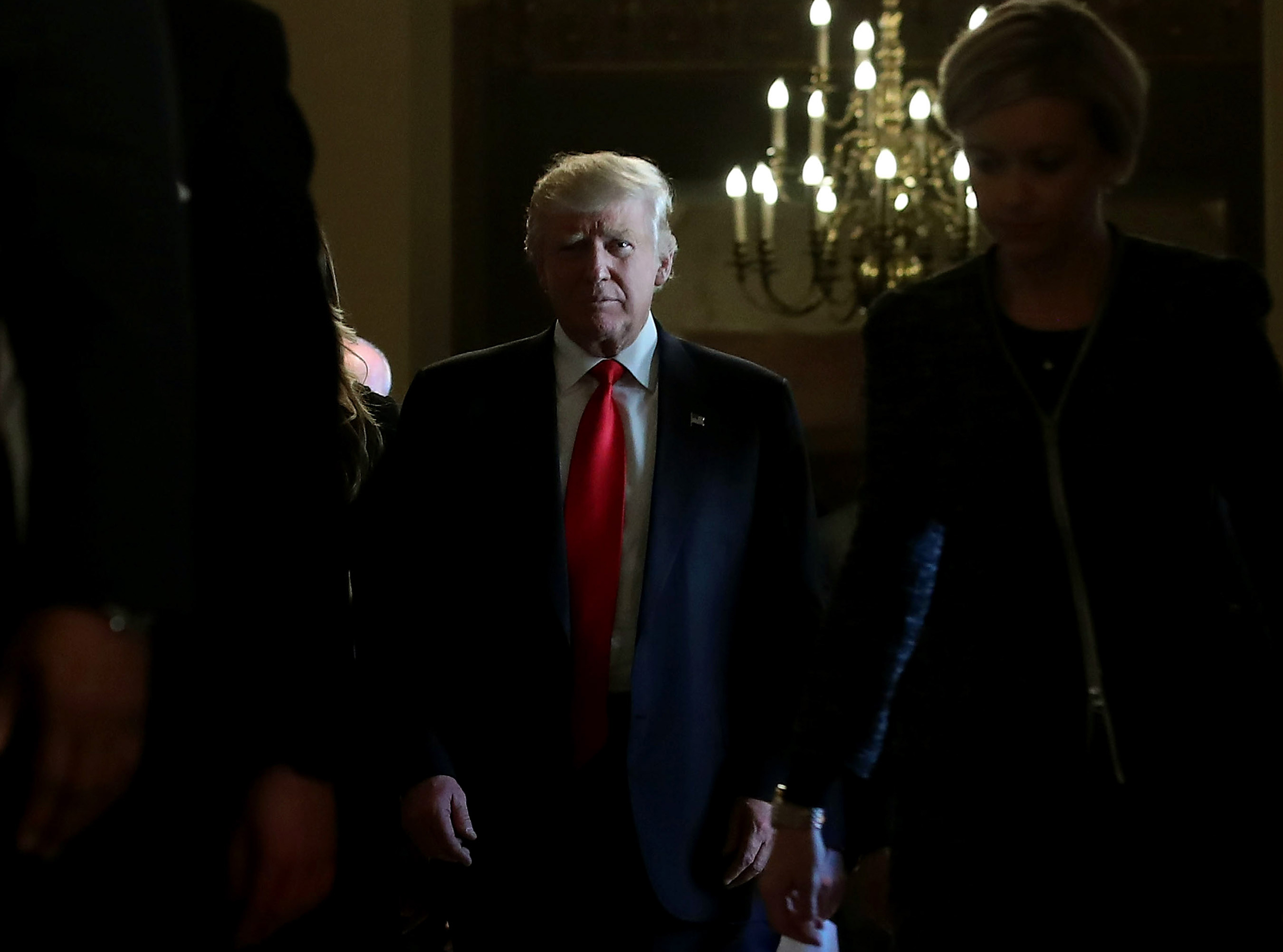 President-elect Donald Trump walks from a meeting with Senate Majority Leader Mitch McConnell at the U.S. Capitol in Washington on Nov. 10, 2016.