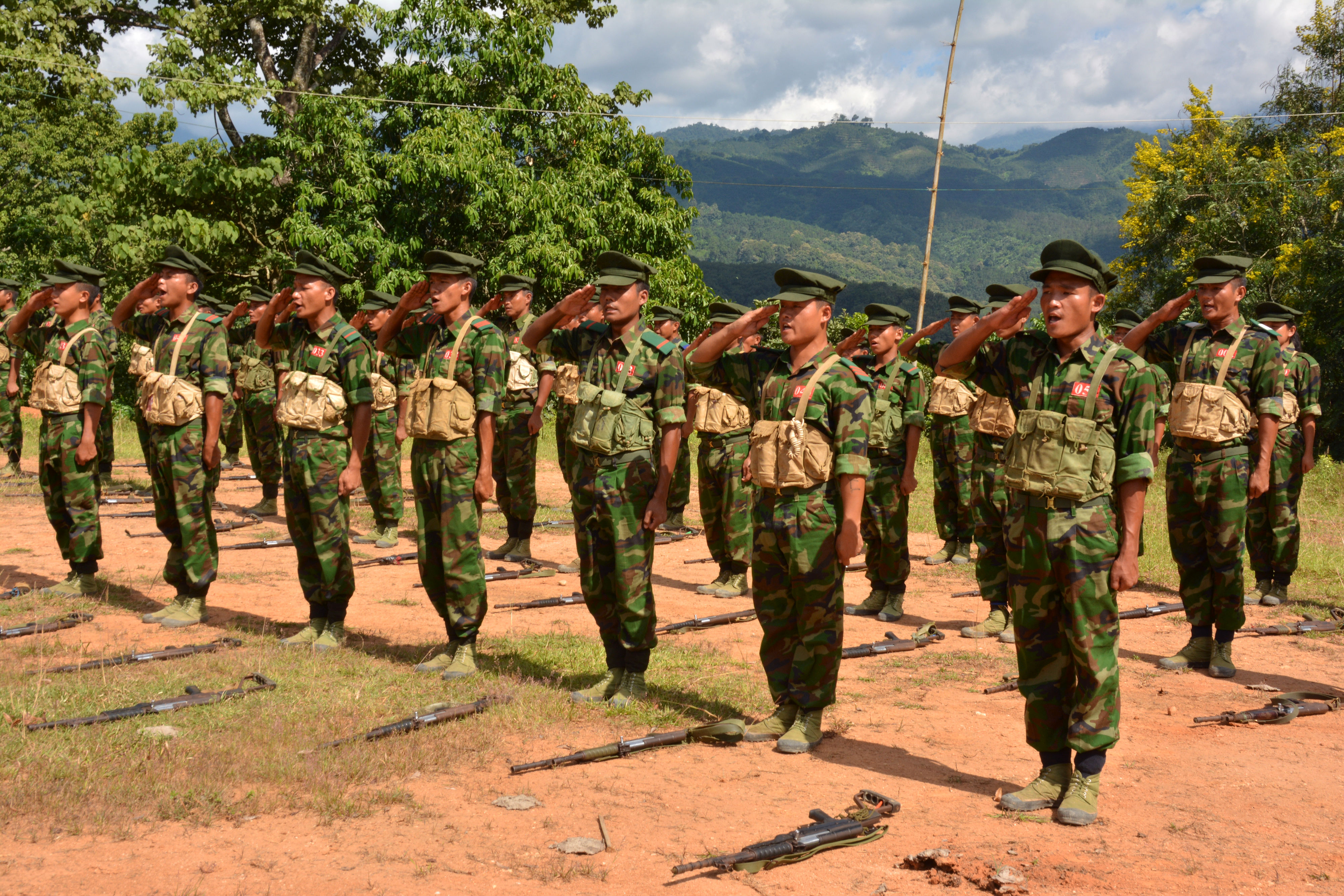 Kachin Independence Army (KIA) cadets follow drills at a training school in the Burmese town of Laiza, on the border with China