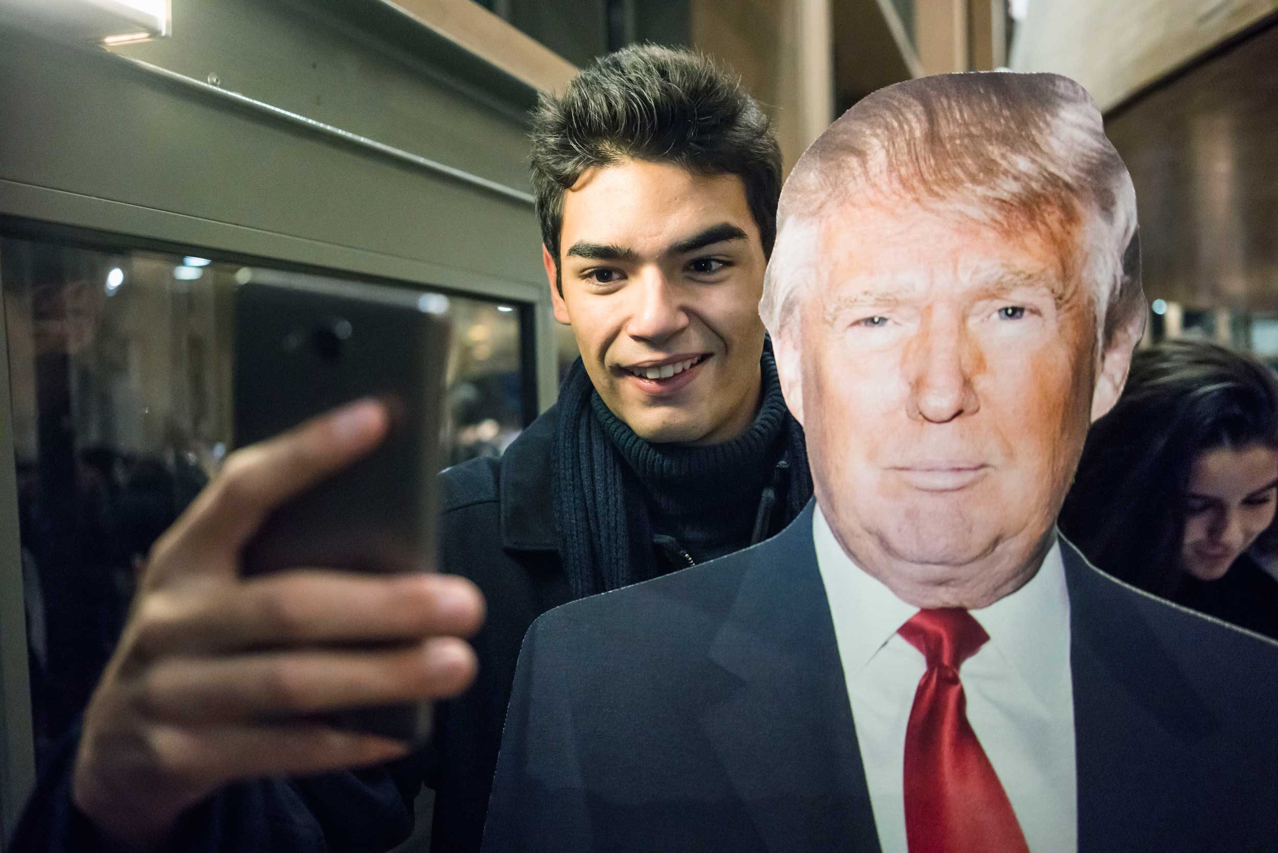 Following the American elections at the Carré du Temple in Paris. Posing for a selfie with Trump. 2016