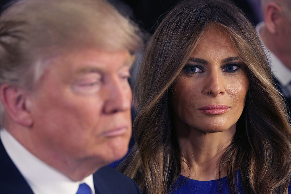 DETROIT, MI - MARCH 03:  Republican presidential candidate Donald Trump and his wife Melania greet reporters in the spin room following a debate sponsored by Fox News at the Fox Theatre on March 3, 2016 in Detroit, Michigan. Voters in Michigan will go to the polls March 8 for the State's primary.  (Photo by Chip Somodevilla/Getty Images)