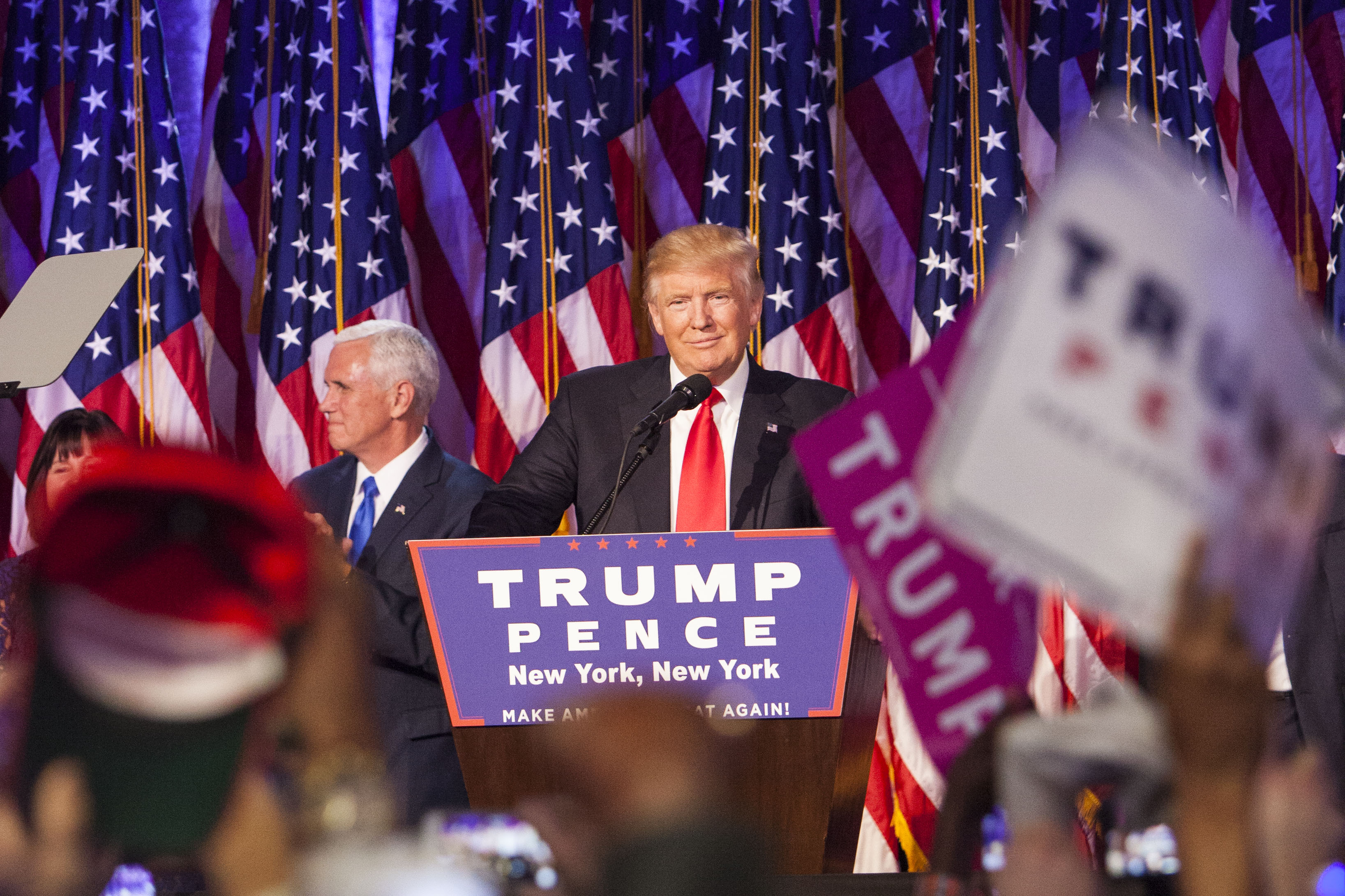 President-elect Donald Trump addresses his Victory Night party on Tuesday, Nov. 8, 2016 in New York's Manhattan borough. Trump defeated Democratic nominee Hillary Clinton in the contest for president of the United States.