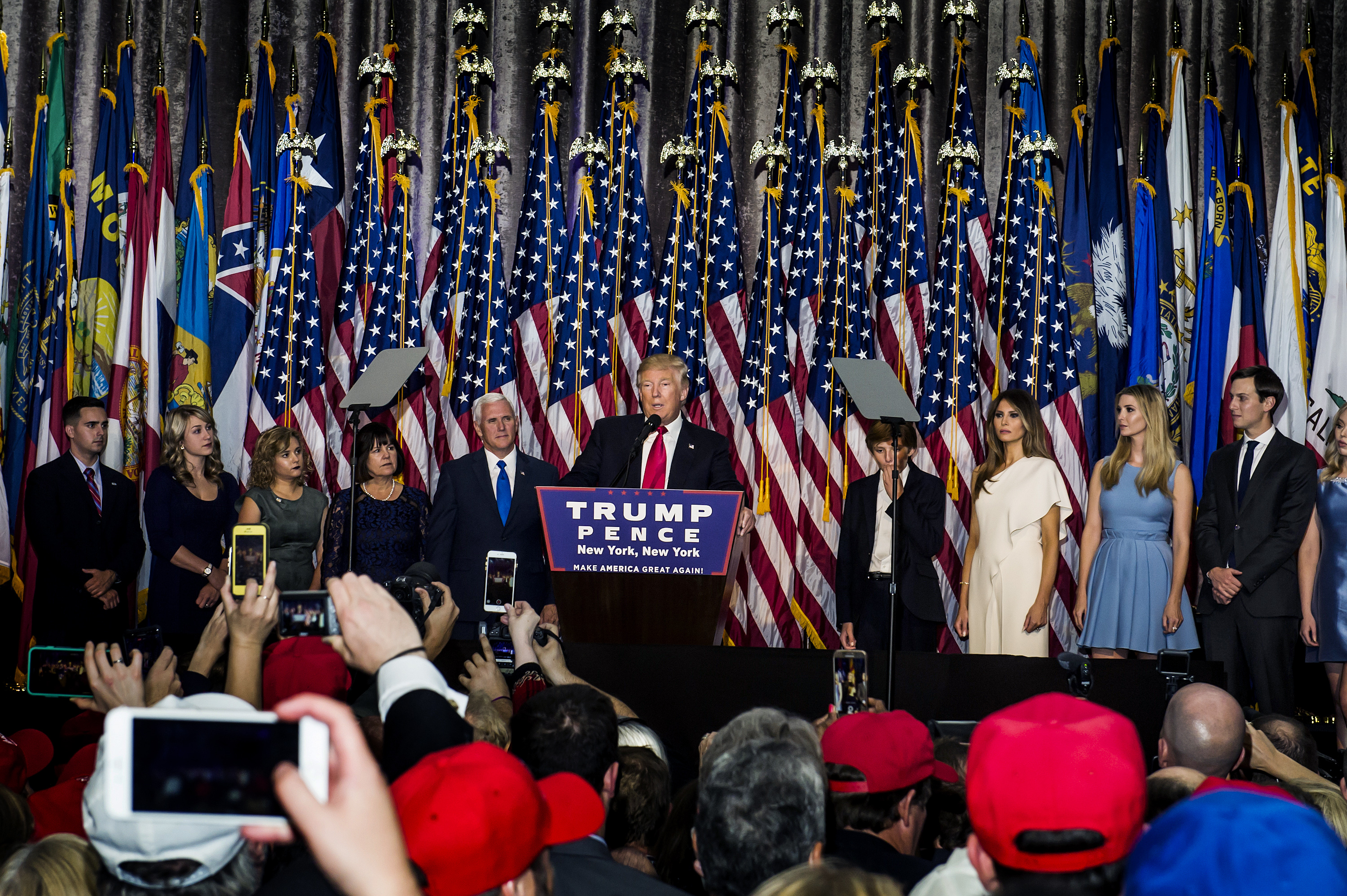 President-elect Donald Trump addresses his Victory Night party on Tuesday, Nov. 8, 2016 in New York's Manhattan borough. Trump defeated Democratic nominee Hillary Clinton in the contest for president of the United States.President-elect Donald Trump addresses his Victory Night party on Tuesday, Nov. 8, 2016 in New York's Manhattan borough. Trump defeated Democratic nominee Hillary Clinton in the contest for president of the United States.