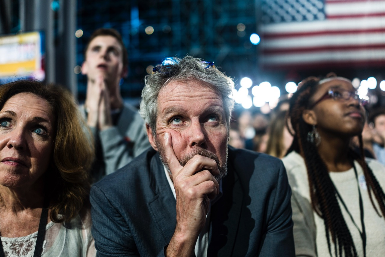Scenes at an election night party for Democratic presidential candidate Hillary Clinton, Tuesday, Nov. 8, 2016 in New York's Manhattan borough. Clinton faces Republican presidential candidate Donald Trump in the contest for president of the United States.