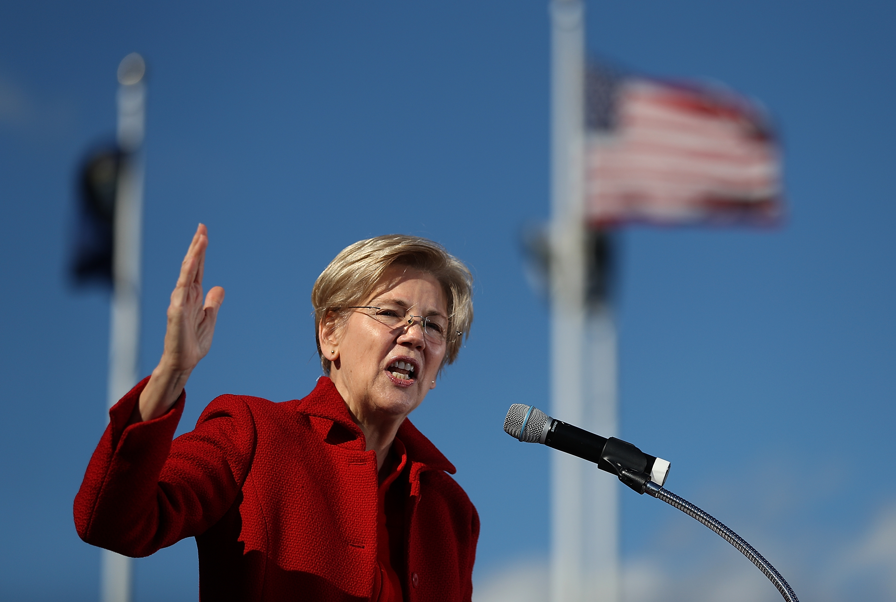 Sen. Elizabeth Warren speaks during a campaign rally with democratic presidential nominee former Secretary of State Hillary Clinton at St Saint Anselm College on Oct. 24, 2016 in Manchester, New Hampshire.