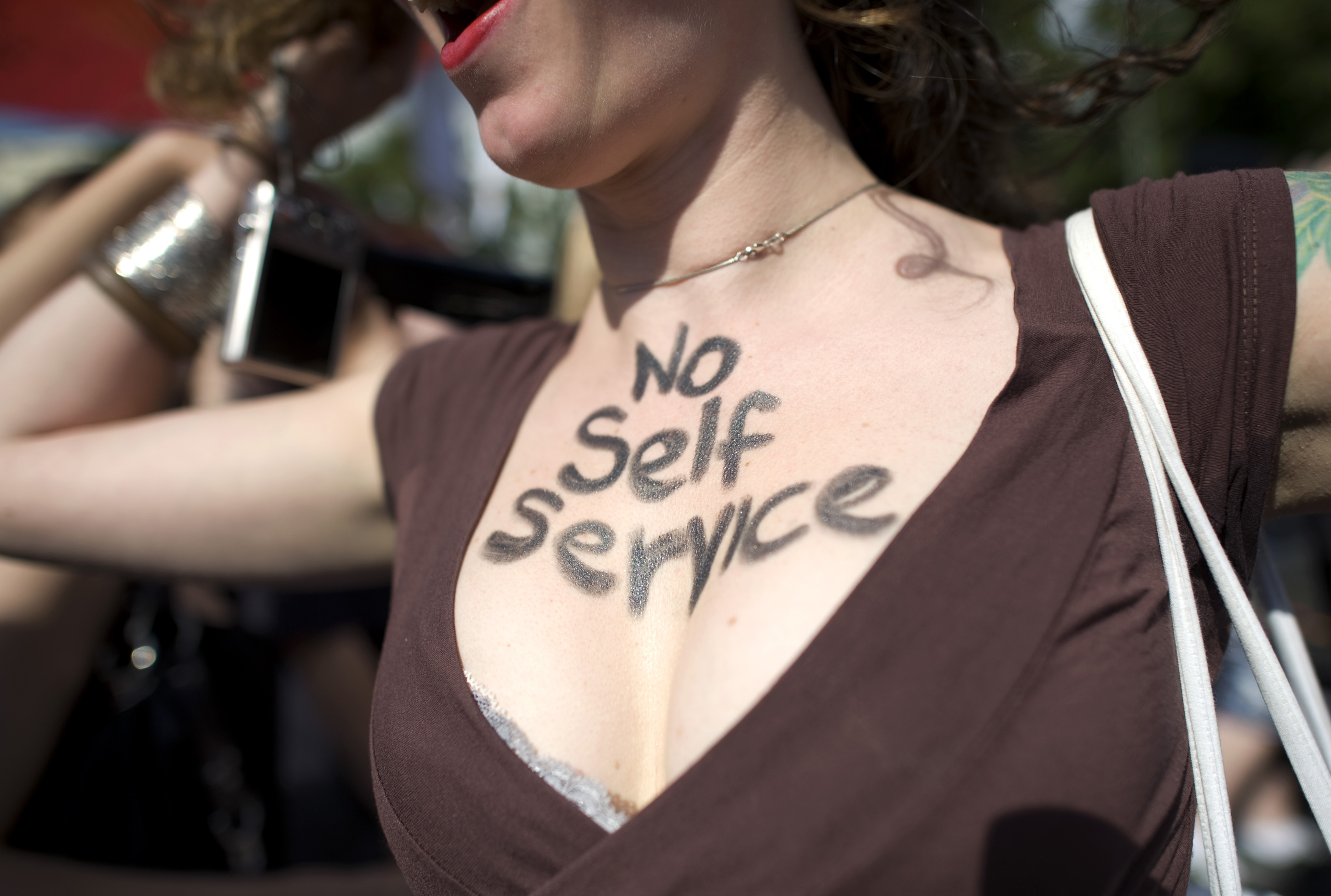 A women walks in a protest against sexual violence in Berlin, Germany on Aug. 8, 2011.