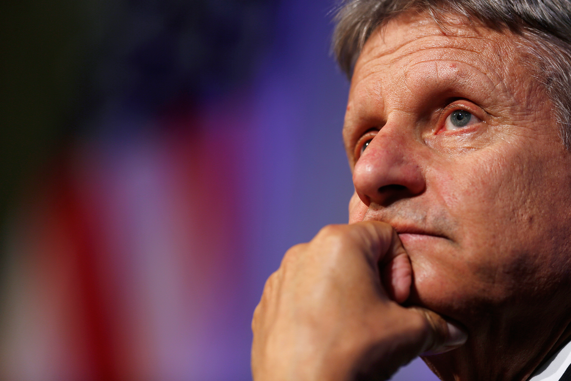 Gary Johnson, 2016 Libertarian presidential nominee, listens to questions from audience members during a campaign event at Purdue University in West Lafayette, Ind., on Sept. 13, 2016.