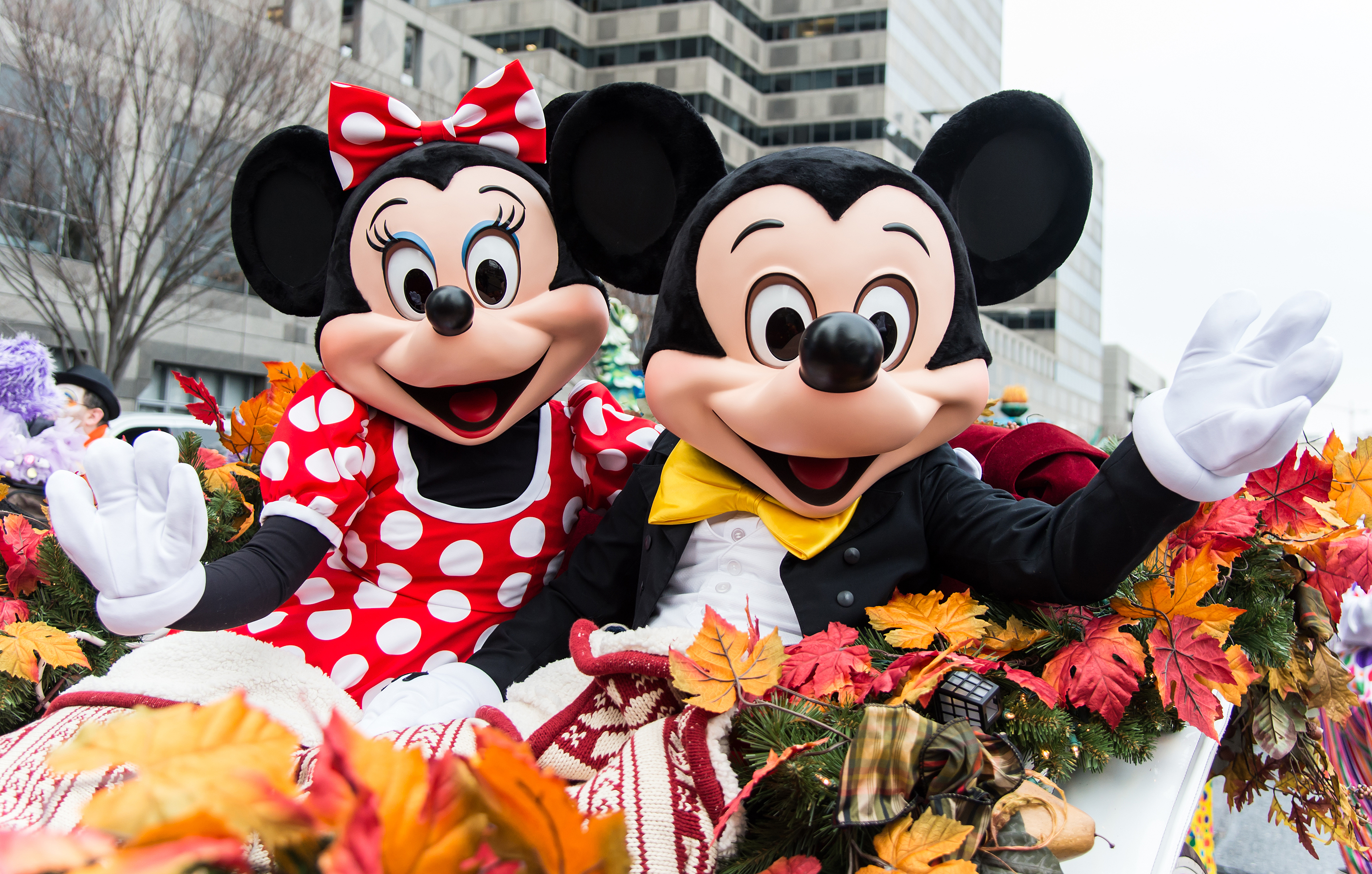 The Walt Disney Characters Minnie Mouse and Mickey Mouse attend the 95th Annual 6abc Dunkin' Donuts Thanksgiving Day Parade on November 27, 2014 in Philadelphia, Pennsylvania.