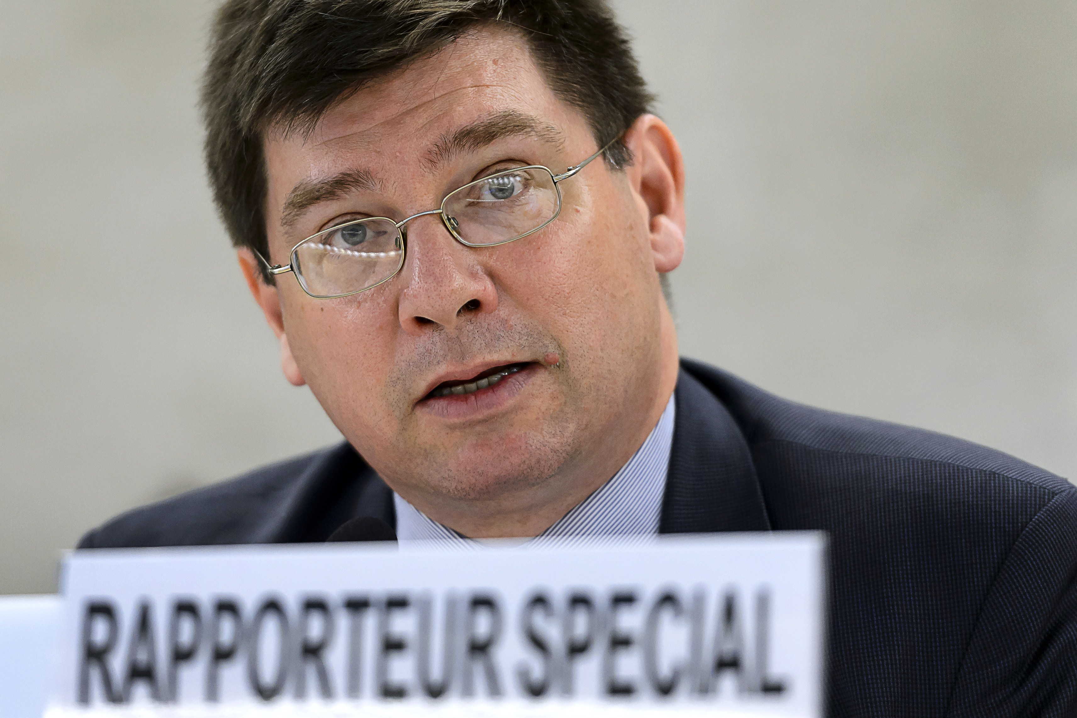 U.N. Special Rapporteur on human rights of migrants François Crépeau delivers his speech during a session of the U.N. Human Rights Council on June 15, 2015, in Geneva
