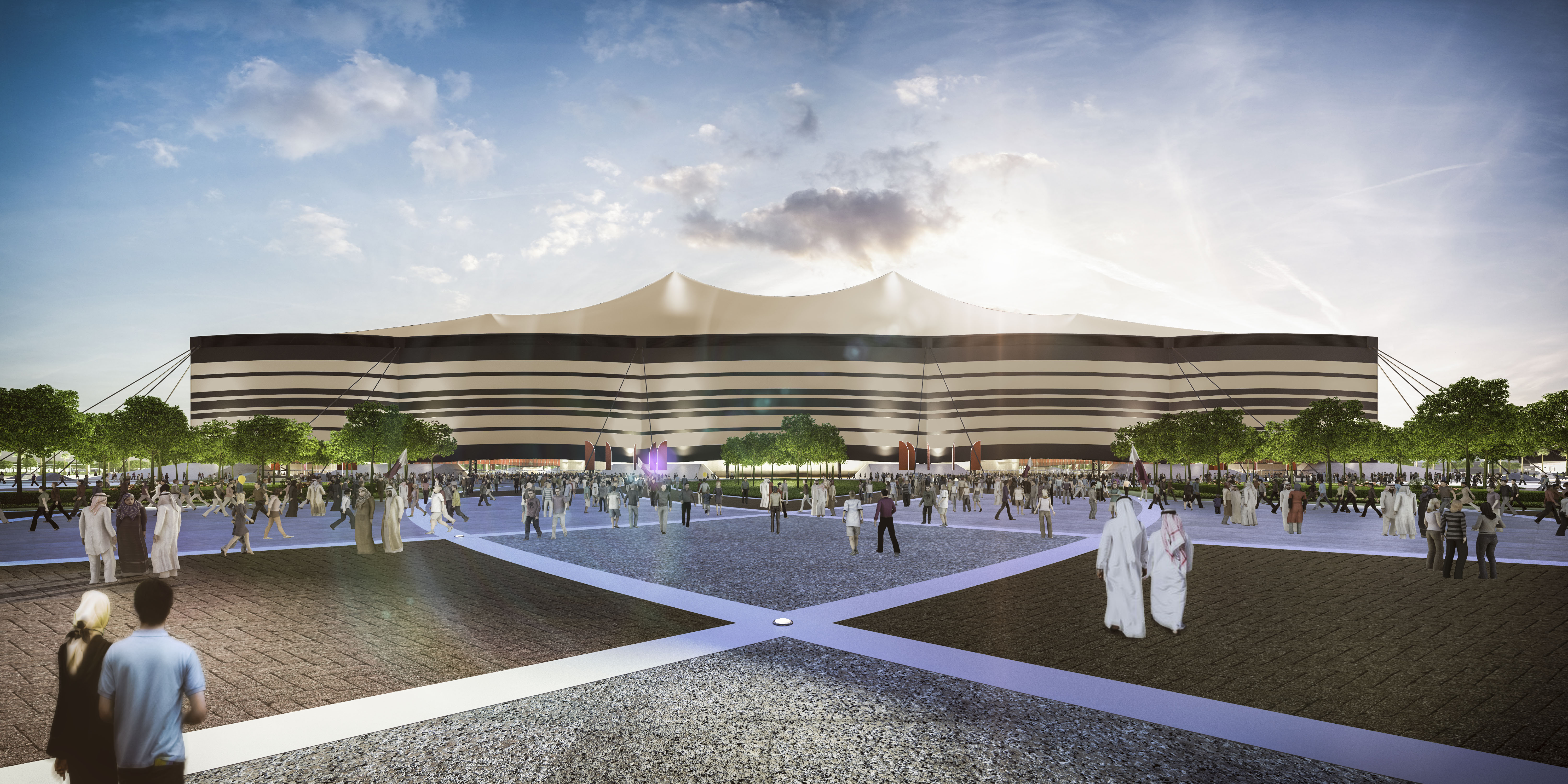 In this handout image supplied by Qatar 2022, is an artist's impression of the Al Bayt Stadium, Al Khor City, a host venue for the 2022 FIFA World Cup Qatar.
