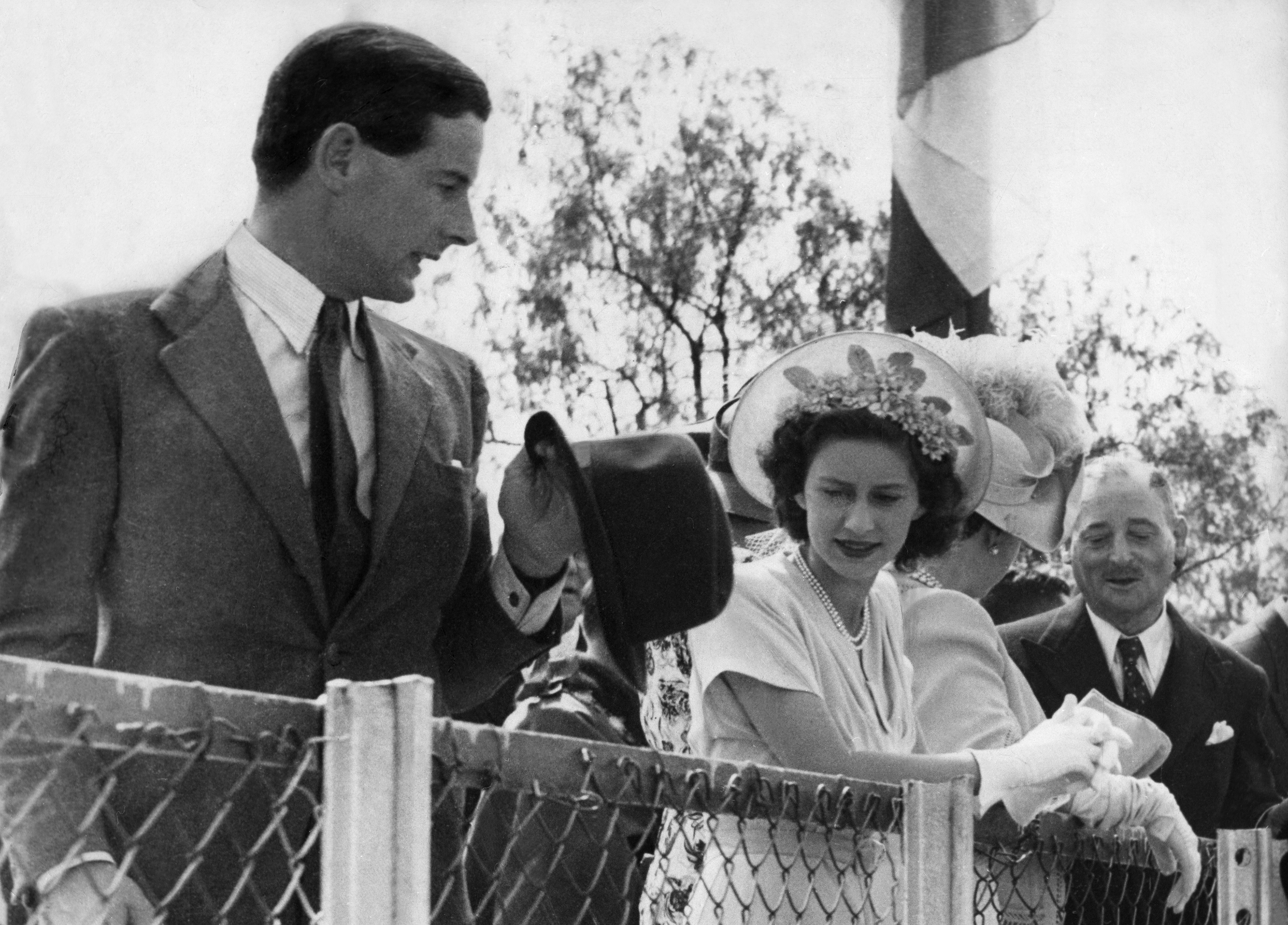 Princess Margaret with Group Captain Peter Townsend in South Africa during the Royal Tour, in 1947.