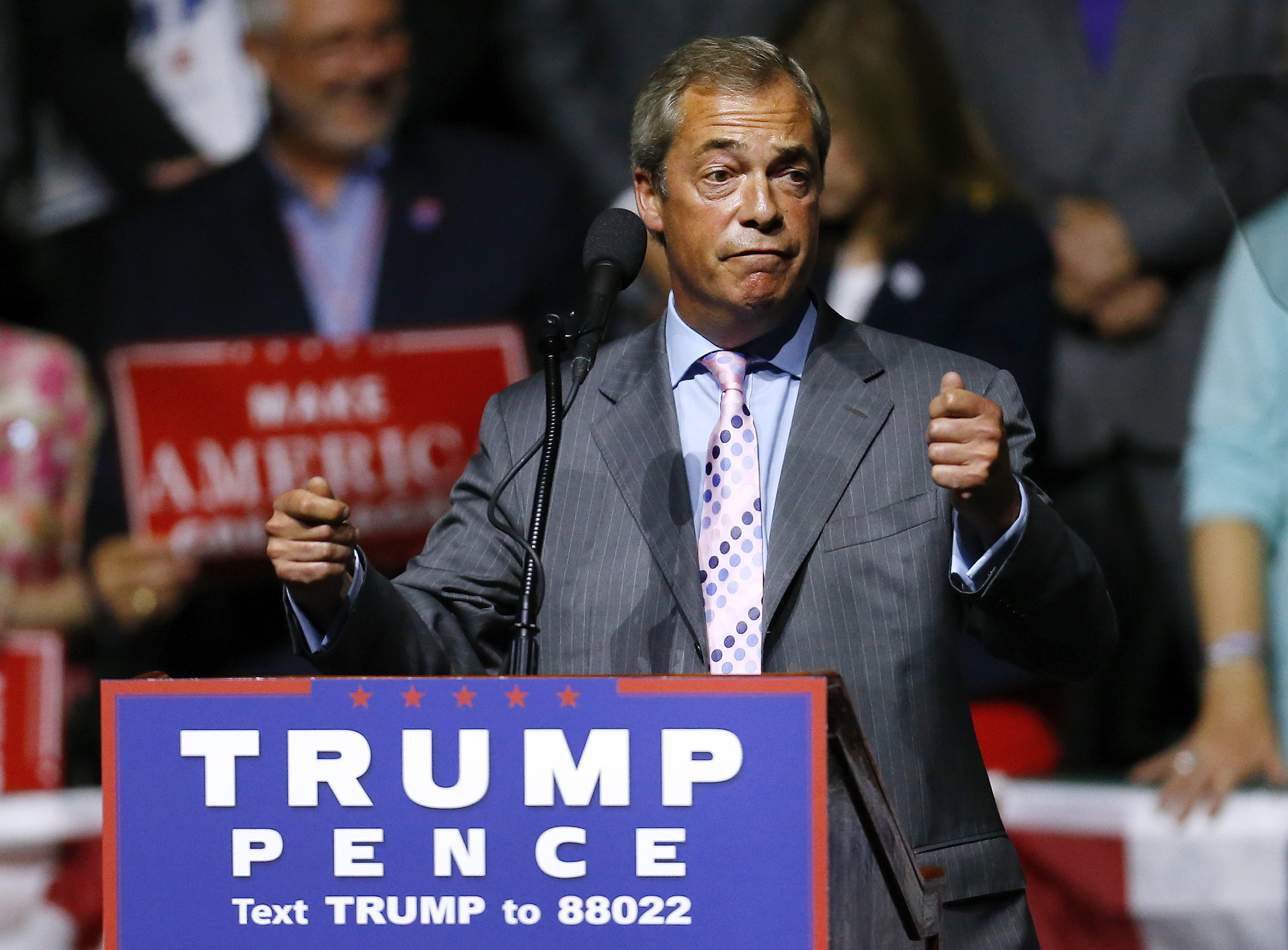 U.K. politician Nigel Farage speaks during a campaign rally for Republican Presidential nominee Donald Trump in Jackson, Mississippi on August 24, 2016