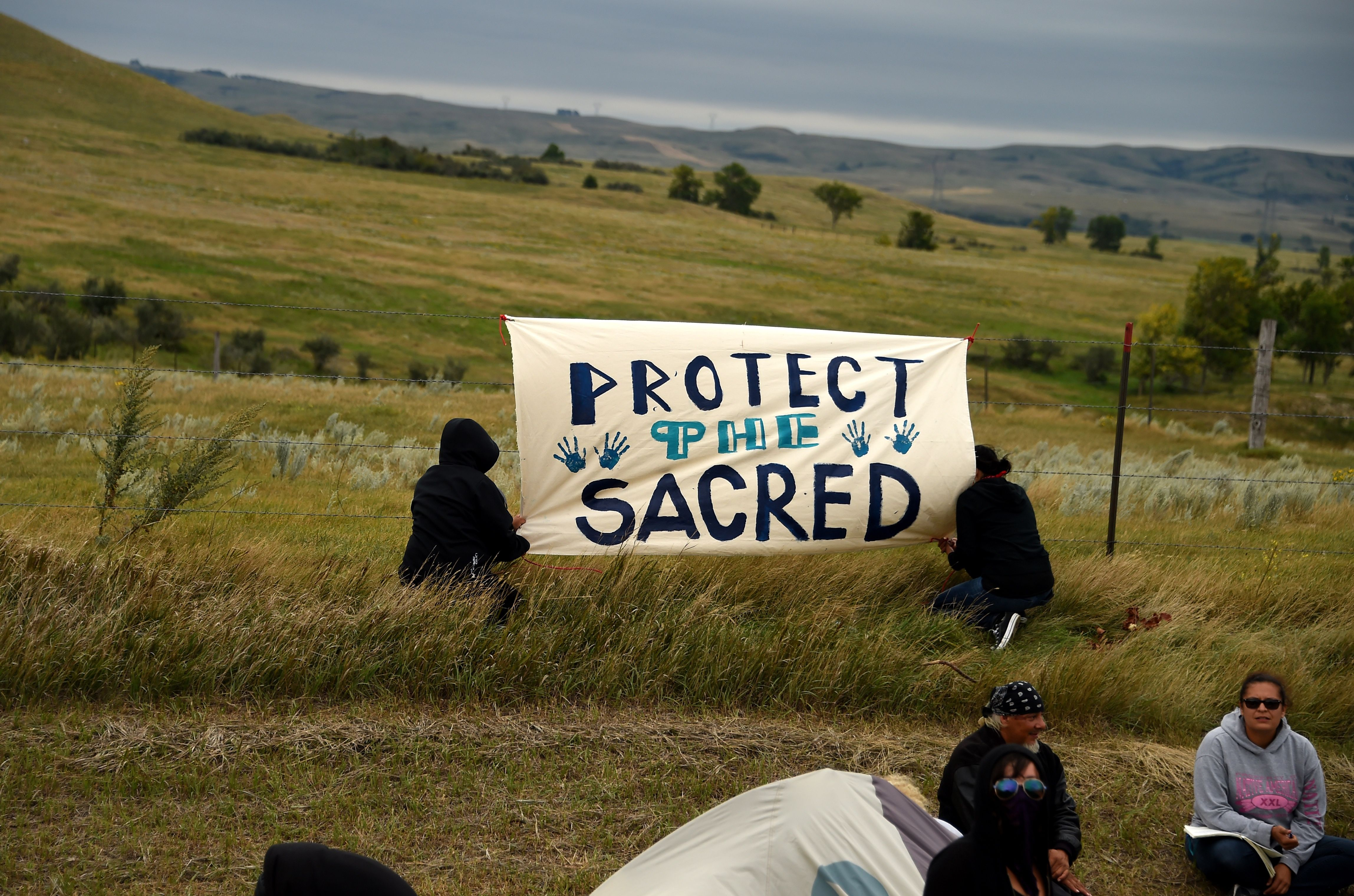 Demonstrators join the Standing Rock Sioux Tribe's protest of the oil pipeline that is slated to cross the Missouri River nearby, Sept. 4, 2016 near Cannon Ball, North Dakota.