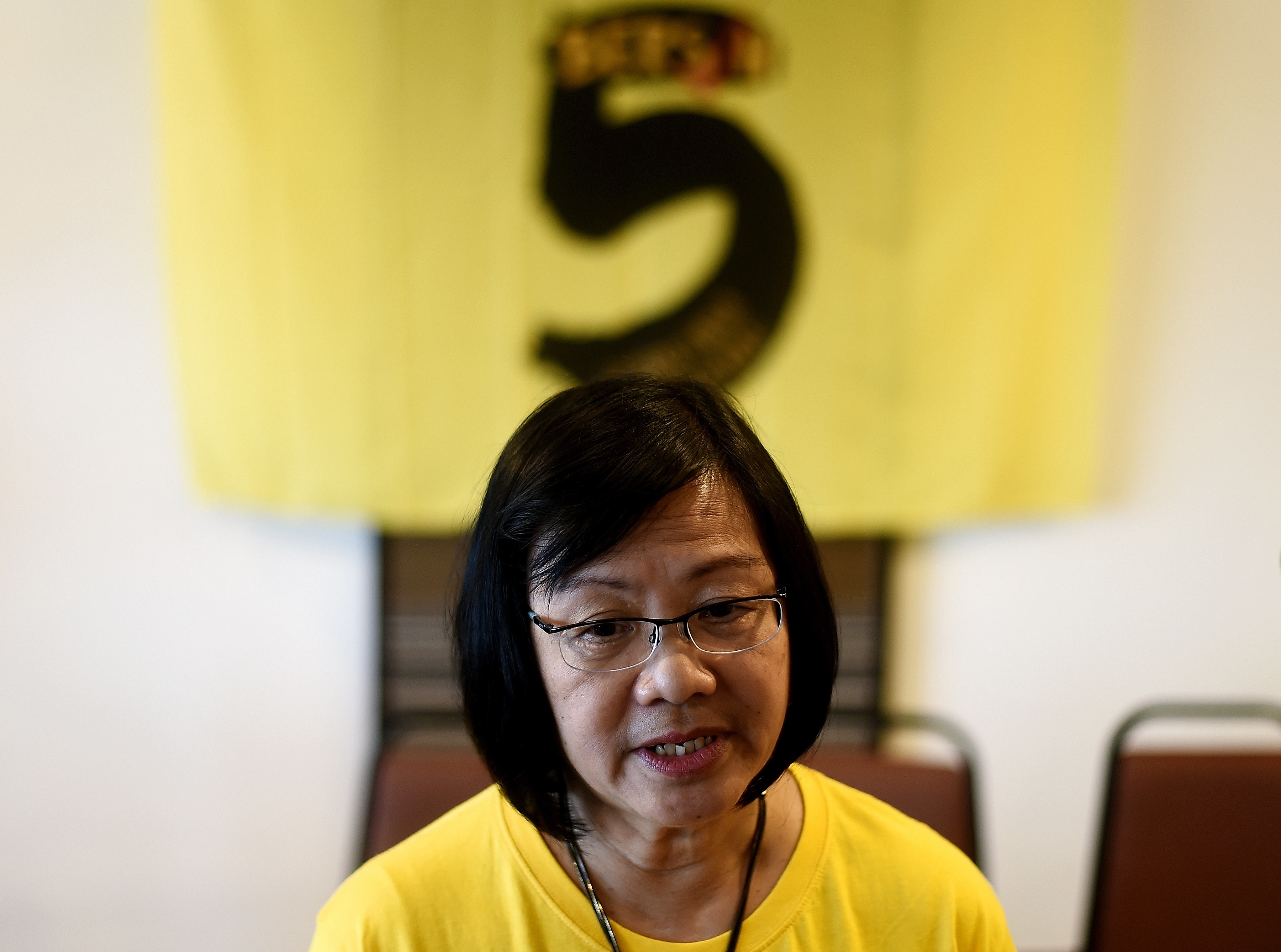 Maria Chin Abdullah, chairperson of the coalition of Malaysian NGOs and activist groups known as Bersih, which translates as clean in the local Malay language, speaks with journalists in Kuala Lumpur on Sept. 14, 2016