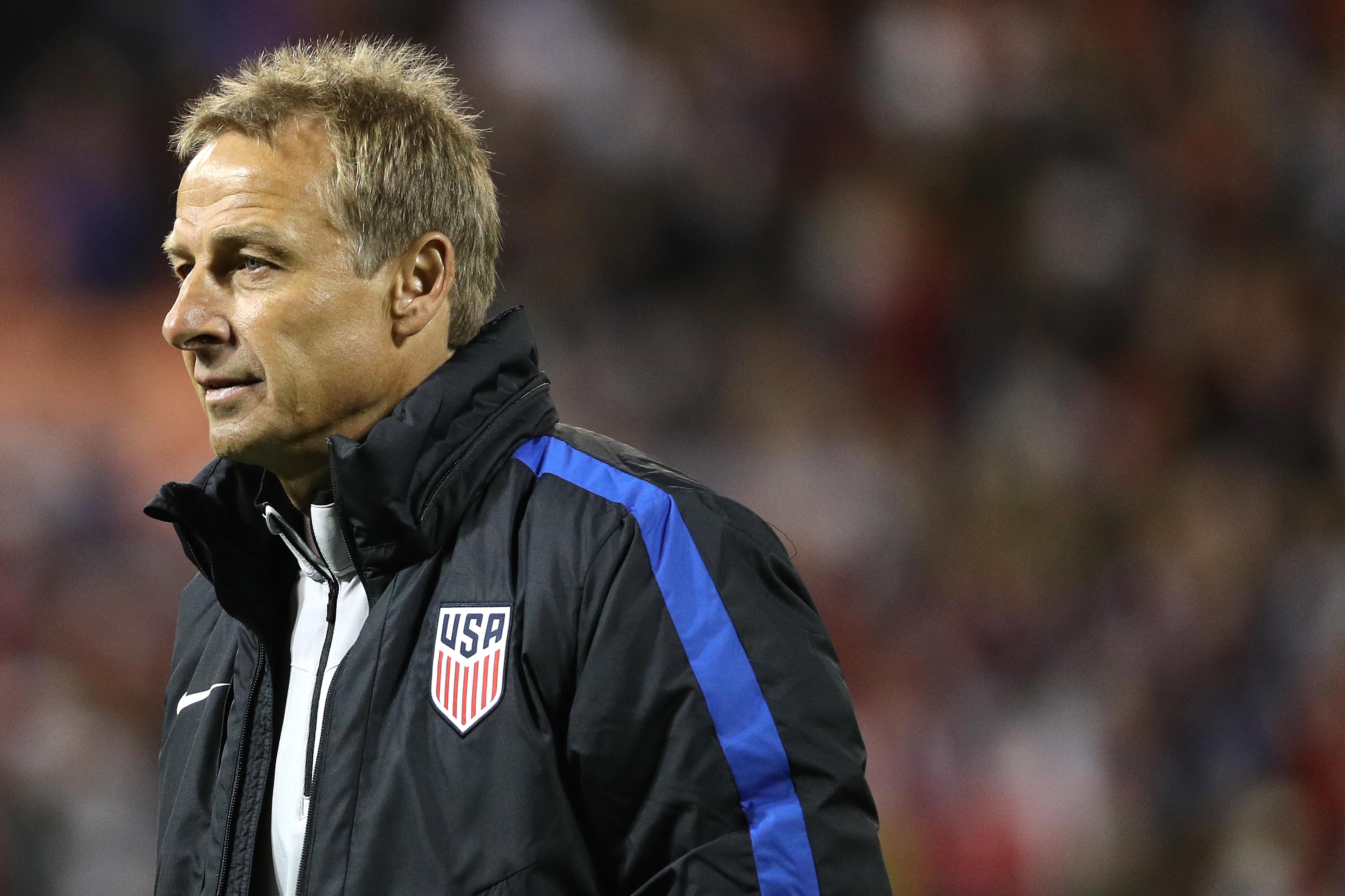 Ex-U.S. soccer head coach Jurgen Klinsmann looks on after playing against New Zealand during an International Friendly at RFK Stadium on October 11, 2016 in Washington, DC.