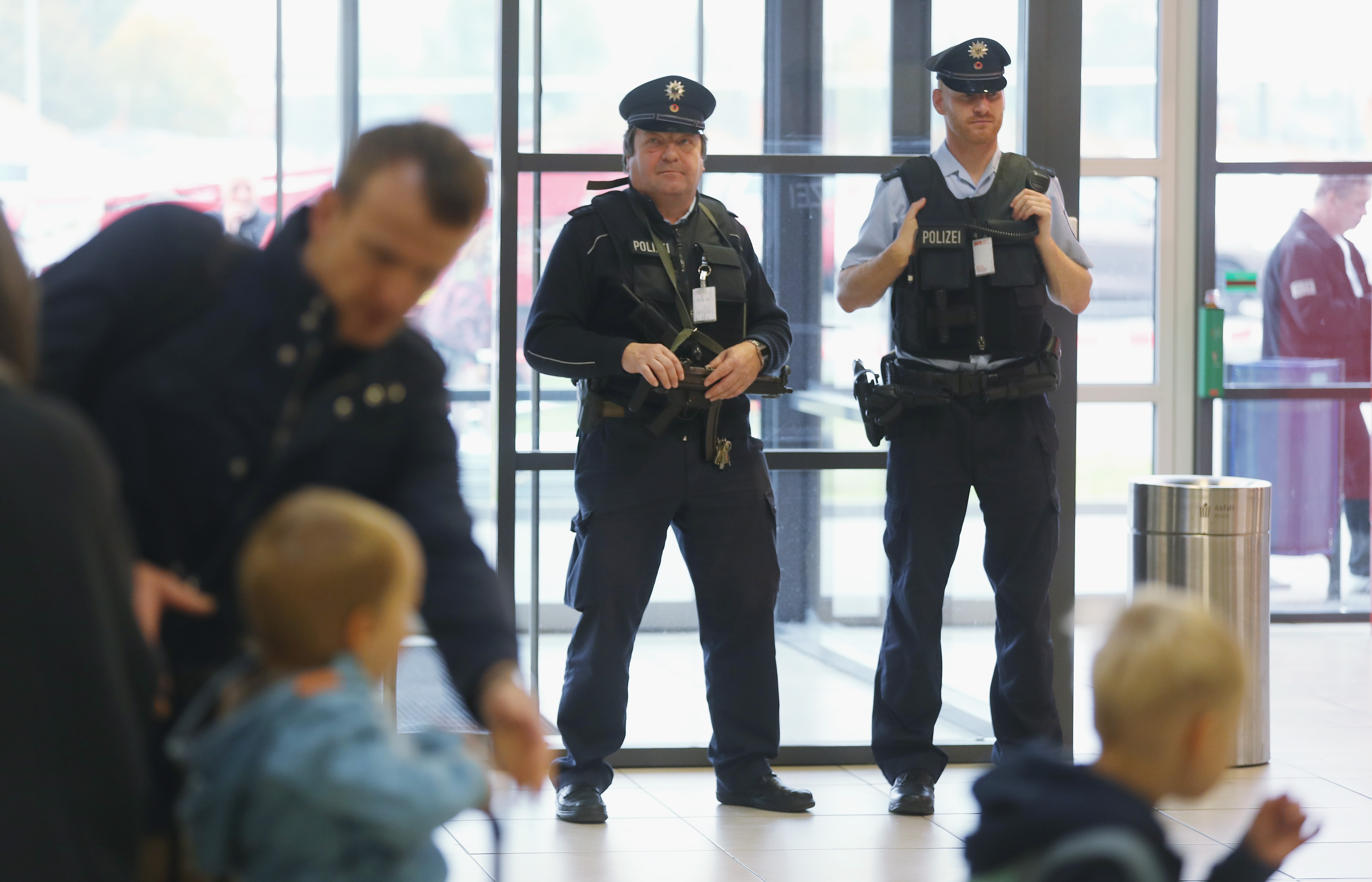 The German Federal Police keep a wary eye at a departure terminal at Schoenefeld Airport, near Berlin, on Oct. 17, 2016