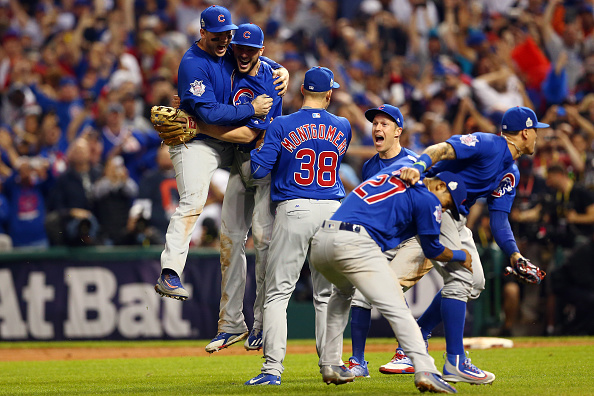 Members of the Chicago Cubs celebrate defeating the Cleveland Indians in Game 7 of the 2016 World Series at Progressive Field on November 2, 2016, in Cleveland, Ohio.