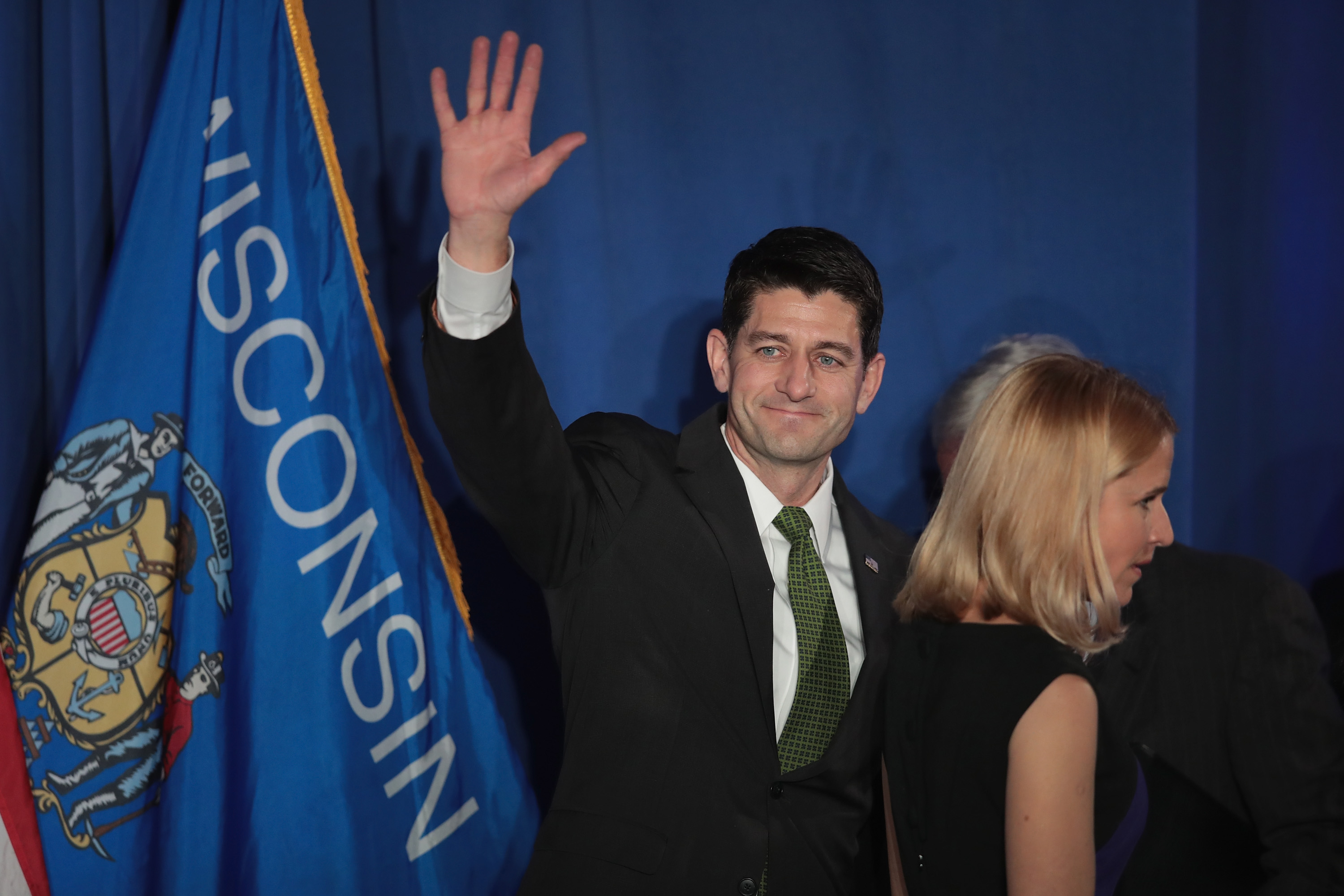 With his wife Janna by his side Speaker of the U.S. House of Representatives Paul Ryan (R-WI) greets supporters at an election-night rally on November 8, 2016 in Janesville, Wisconsin. Scott Olson—Getty Images
