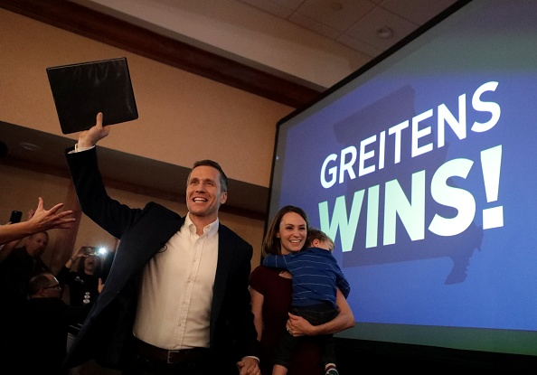 Eric Greitens emerges as winner of the Missouri governor's race on Tuesday, Nov. 8, 2016, at his election watch party at the Double Tree Hotel in Chesterfield, Mo.