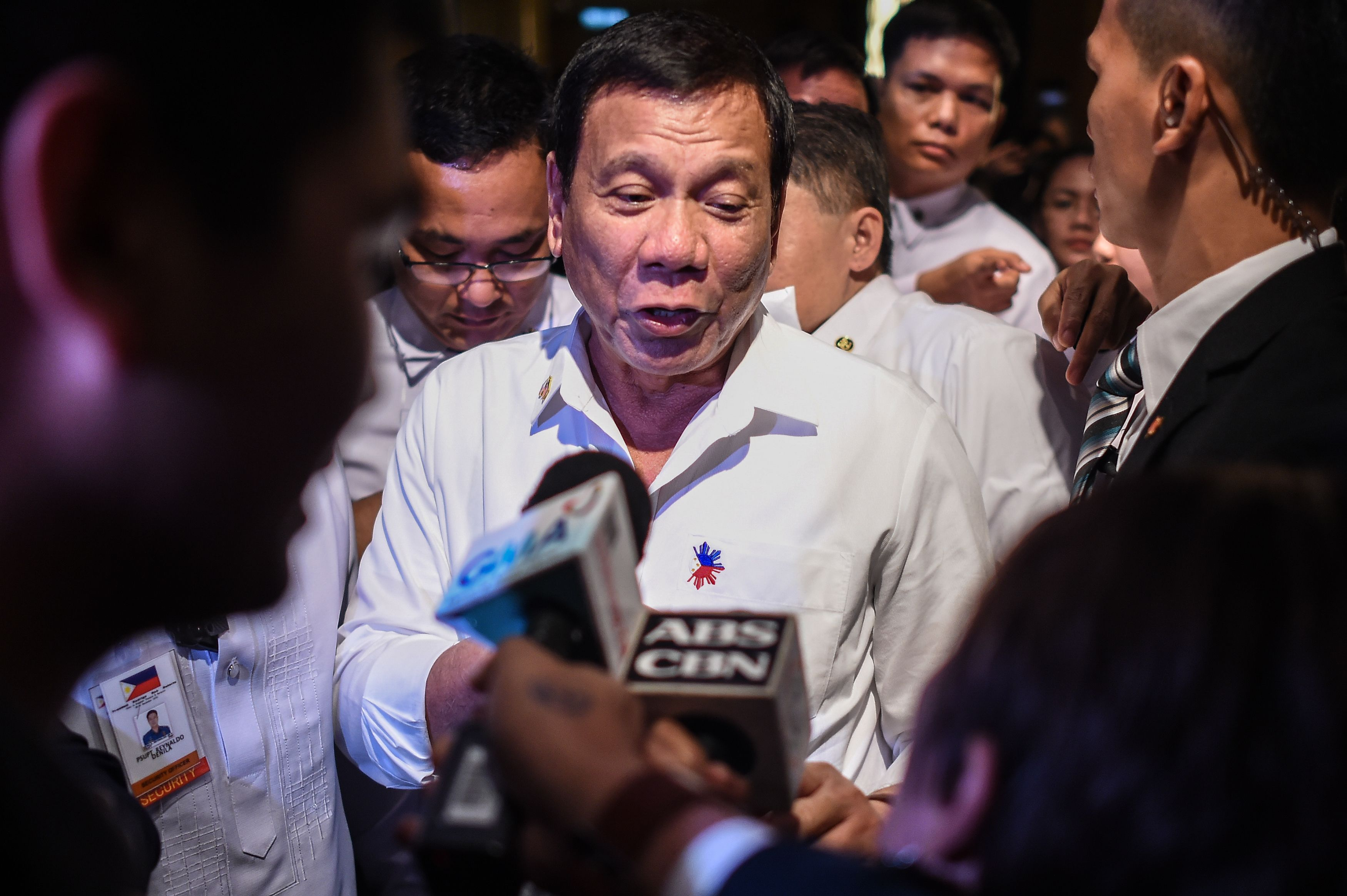 Philippine's President Rodrigo Duterte speaks to media after meeting with  Philippine nationals living in Malaysia during an official visit in Kuala Lumpur on Nov. 9, 2016.