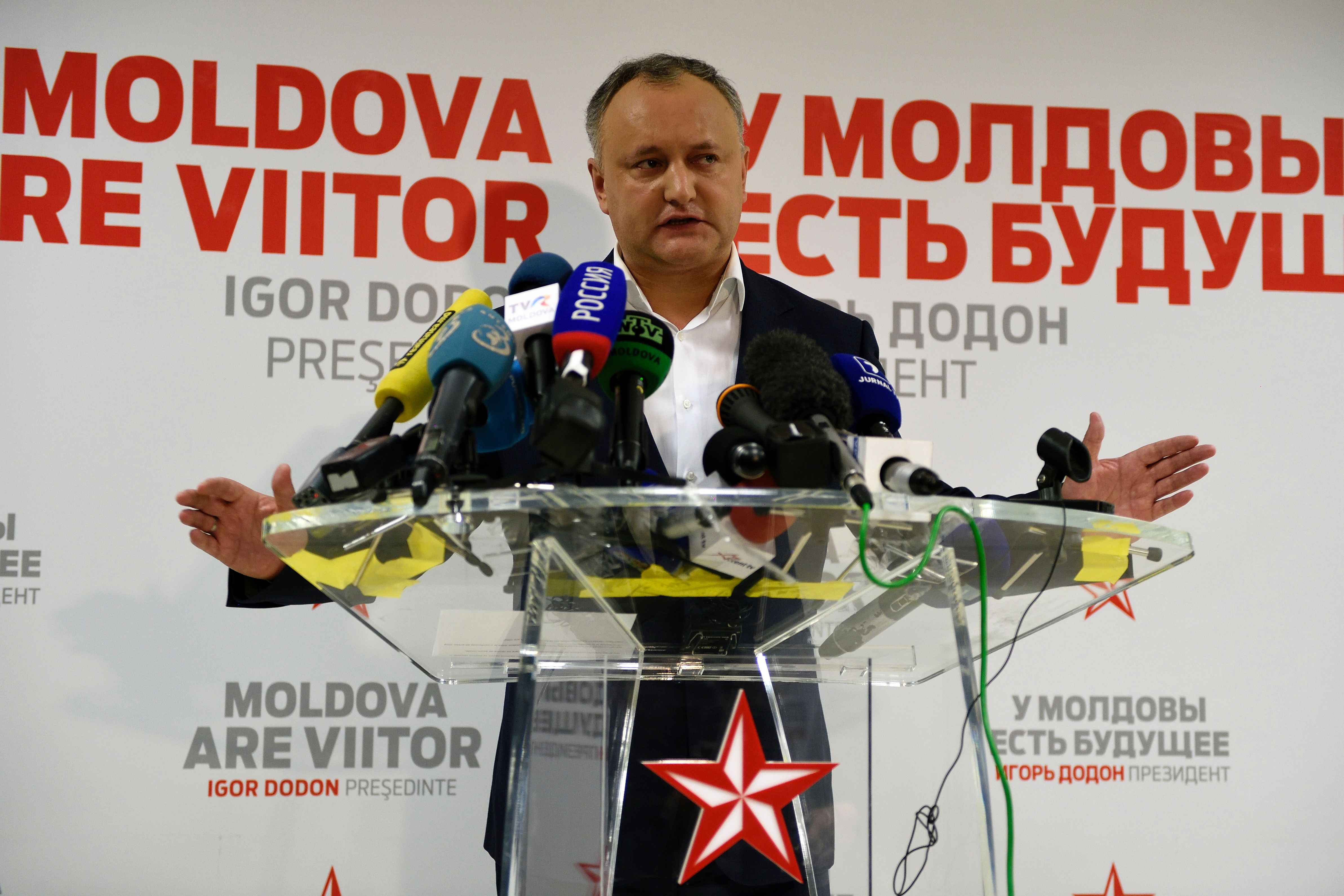 Moldova's presidential candidate Igor Dodon gestures during a press conference after the end of voting in Chisinau, Moldova, on Nov. 13, 2016