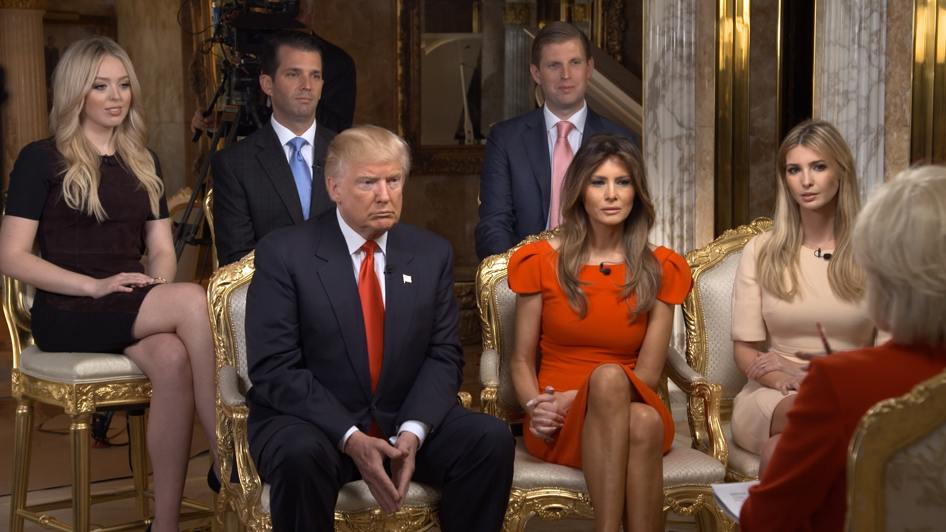 60 Minutes Correspondent Lesley Stahl interviews President-elect Donald J. Trump and his family shown here from left: Tiffany Trump, Donald Trump, Jr., Donald Trump, Eric Trump, Melania Trump, Ivanka Trump at his Manhattan home on November 11.