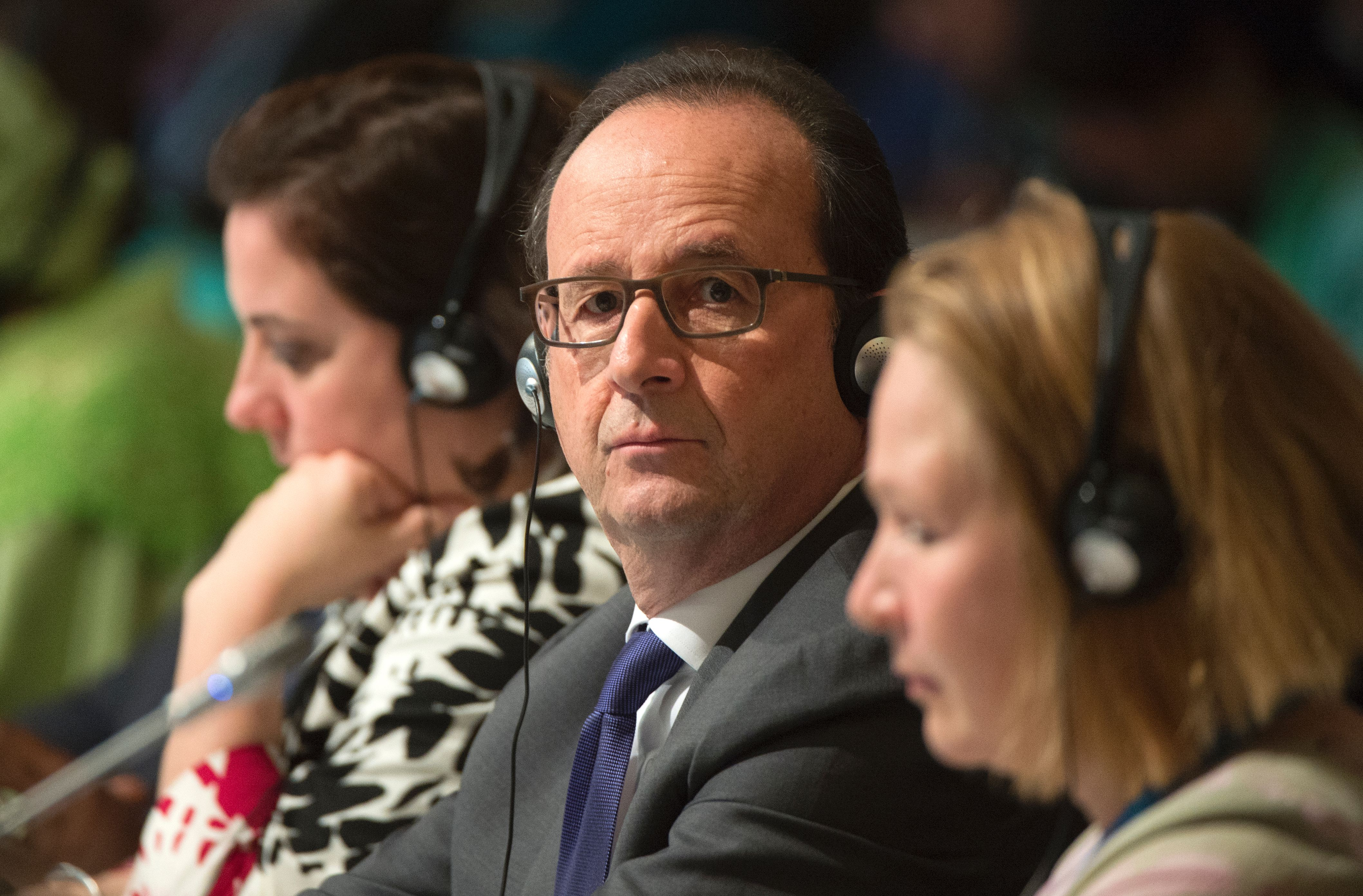 French President Francois Hollande looks on during the COP22 Climate Change Conference in Marrakesh on November 15, 2016.