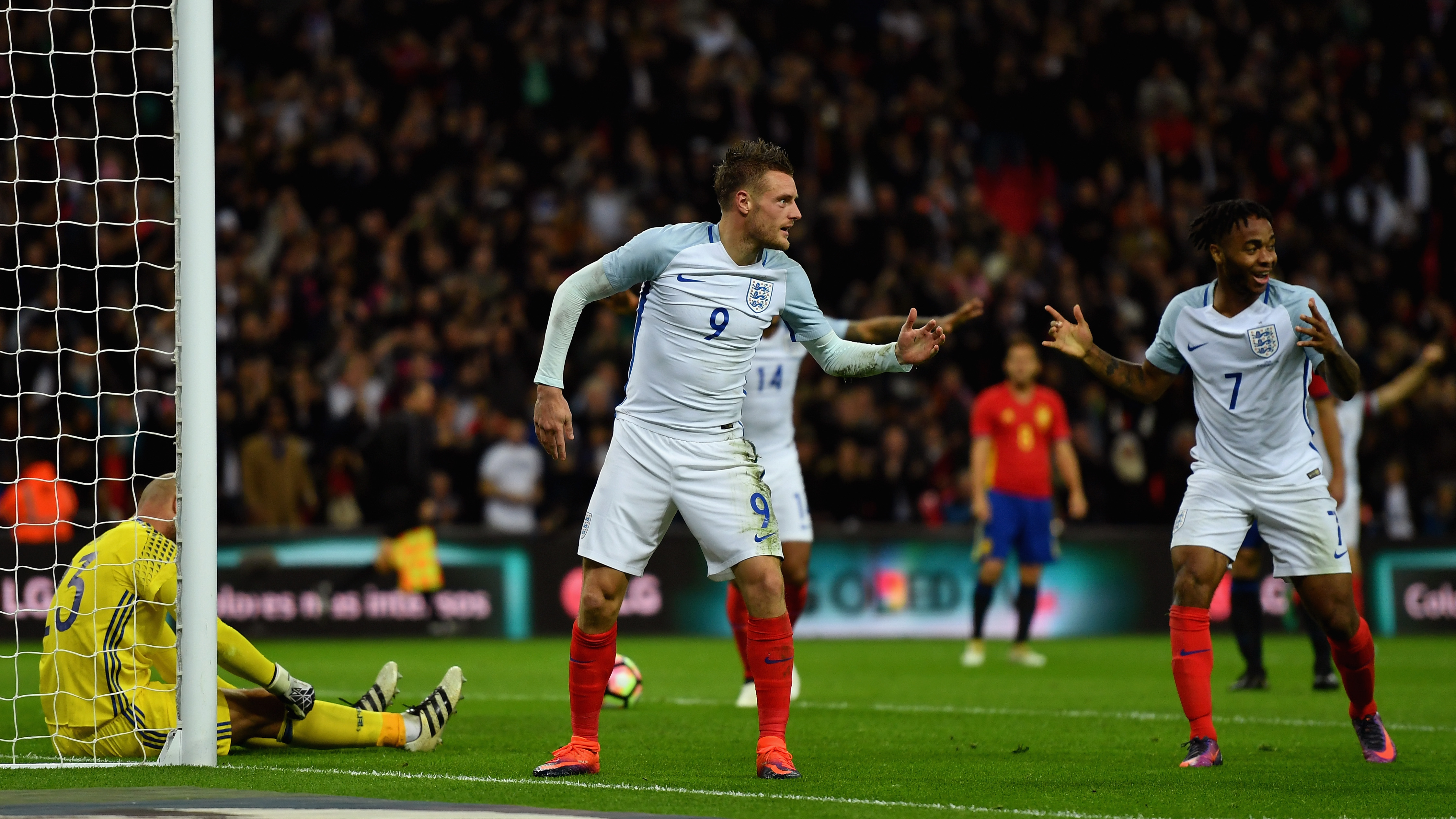 Jamie Vardy of England (9) celebrates as he scores their second goal during the international friendly match between England and Spain at Wembley Stadium on Nov. 15, 2016 in London, England.