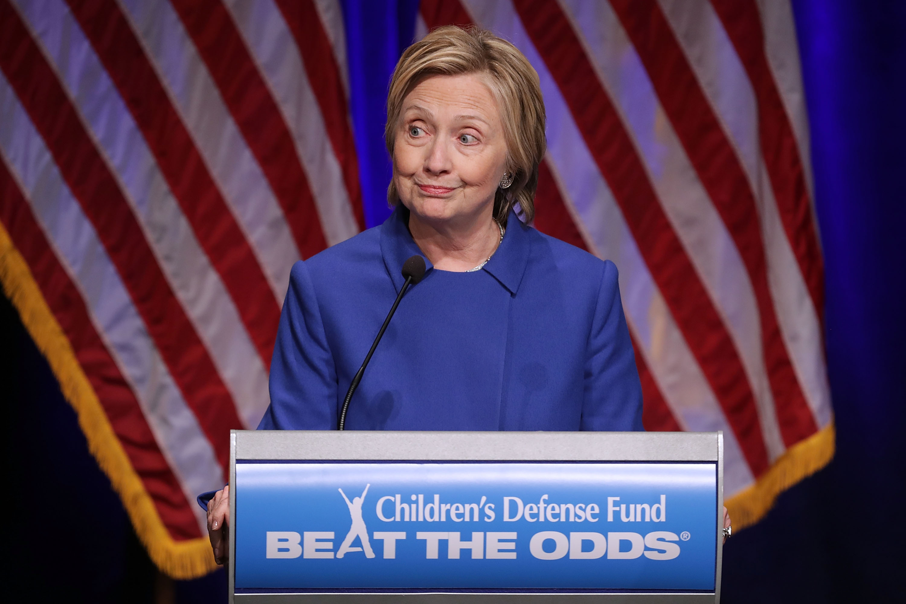 Former Secretary of State and former Democratic Presidential nominee Hillary Clinton delivers remarks while being honored during the Children's Defense Fund's Beat the Odds Celebration at the Newseum in Washington on Nov. 16, 2016.