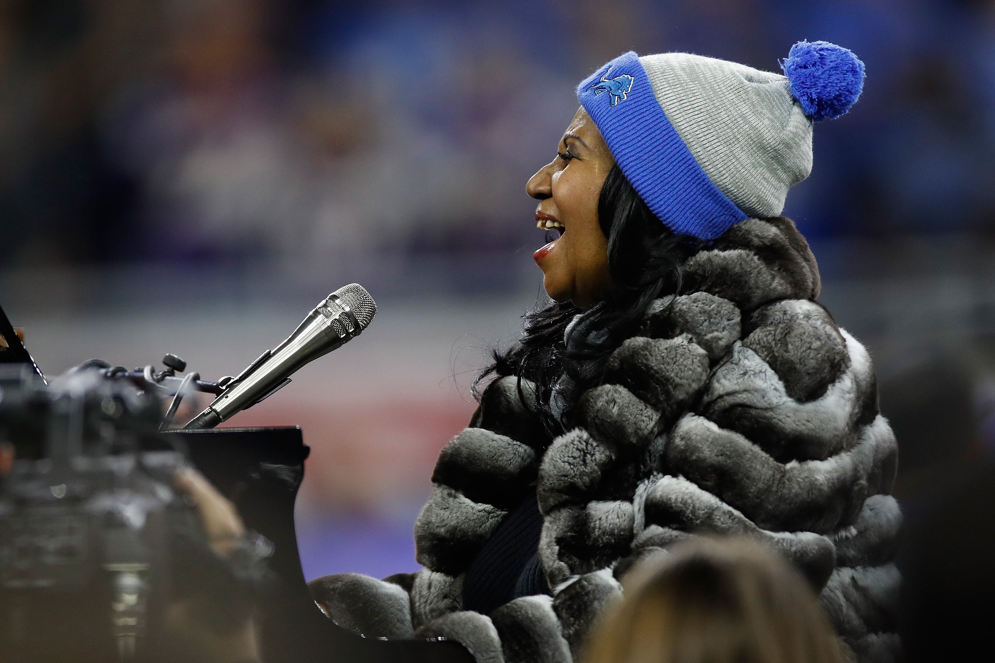 Detroit native Aretha Franklin sings the National Anthem prior to the start of the Detroit Lions and the Minnesota Vikings game at Ford Field on Nov. 24, 2016 in Detroit, Michigan.