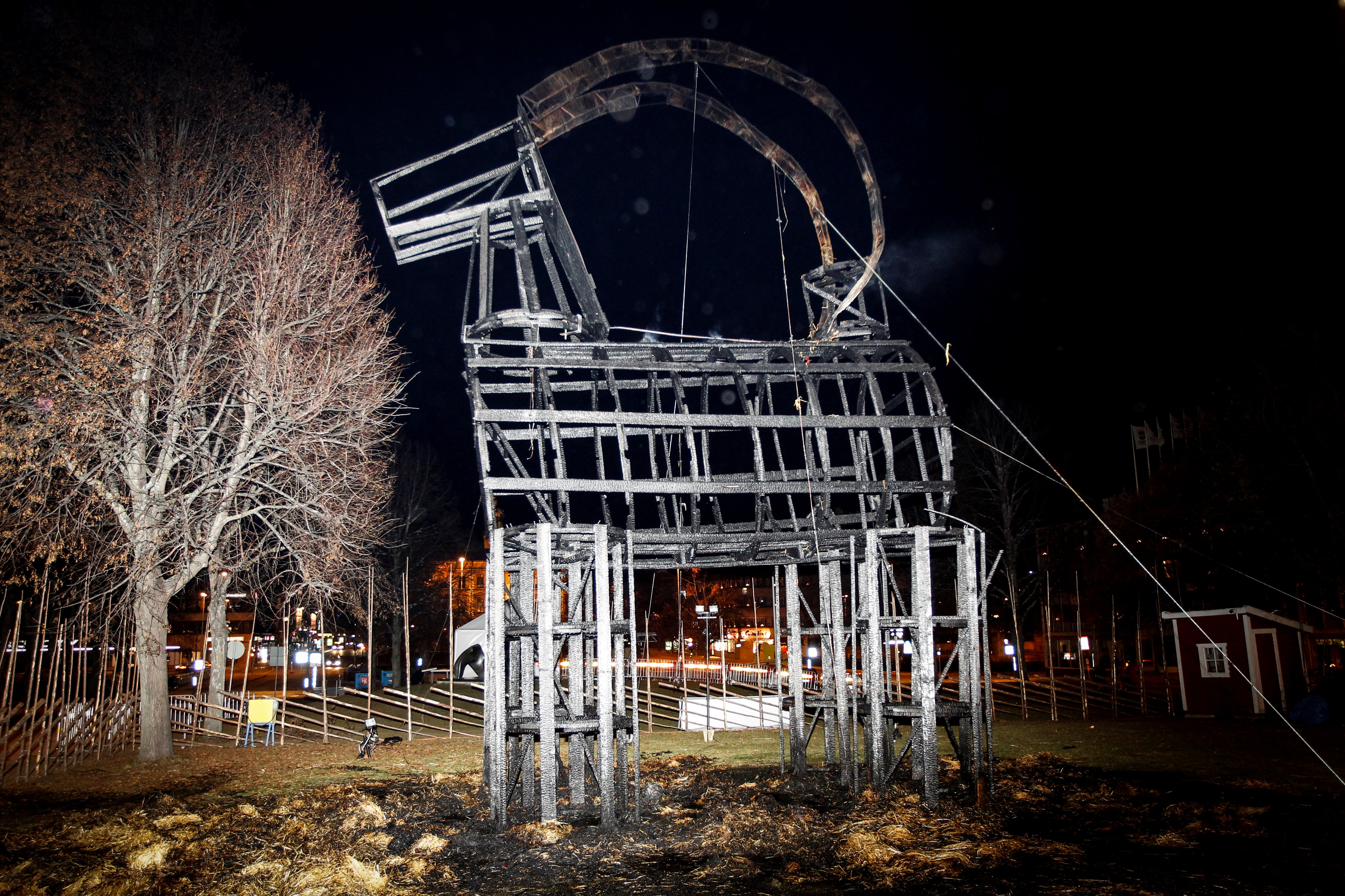 A picture taken on November 27, 2016 shows the traditional Swedish Christmas goat in Gavle, after it was burned down late in the evening, just a few hours after its inauguration to celebrate its 50-year anniversary.                     The first goat in Gavle was erected in 1966. The goat has been burned down many times over the years. / AFP / TT NEWS AGENCY / Pernilla WAHLMAN / Sweden OUT        (Photo credit should read PERNILLA WAHLMAN/AFP/Getty Images)