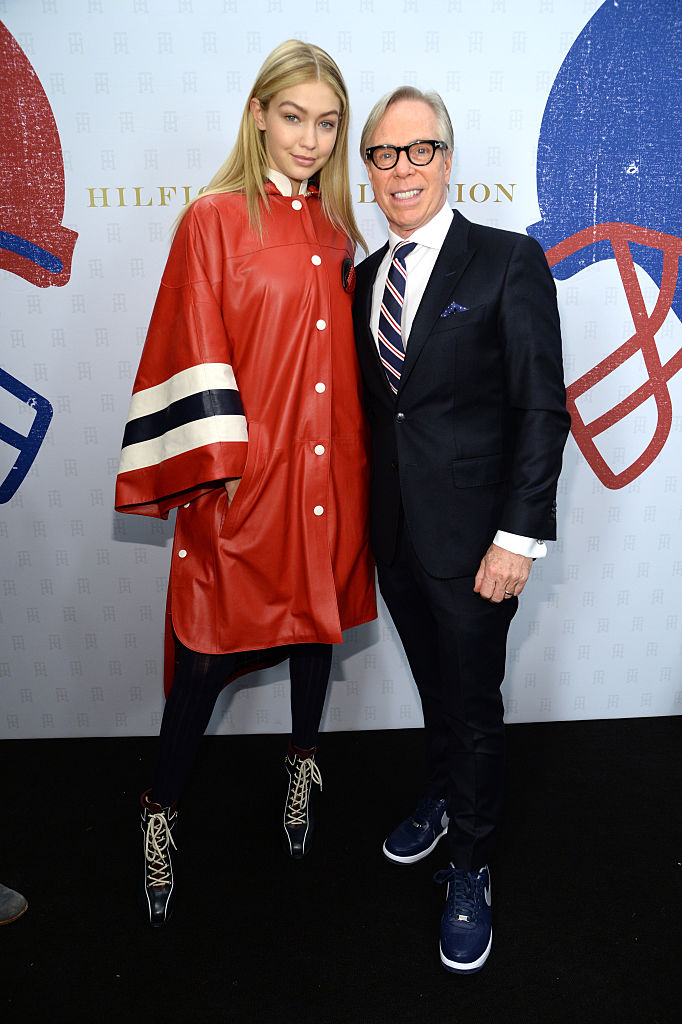 NEW YORK, NY - FEBRUARY 16:  Gigi Hadid and Tommy Hilfiger backstage at Tommy Hilfiger Women's Collection during Mercedes-Benz Fashion Week Fall 2015 at Park Avenue Armory on February 16, 2015 in New York City.  (Photo by Kevin Mazur/Getty Images for Tommy Hilfiger)