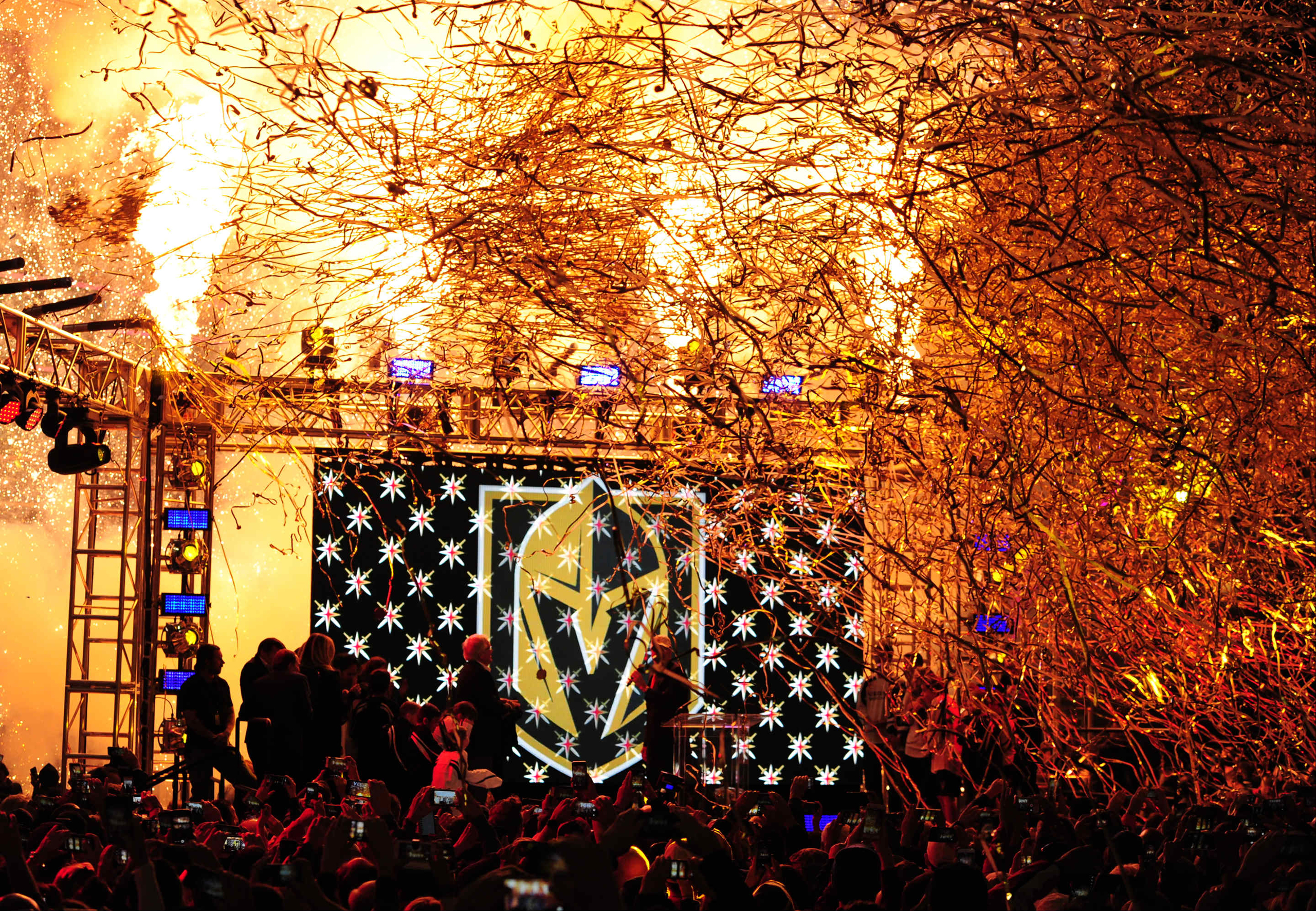 Pyrotechnics explode as the Vegas Golden Knights name and logo is revealed during the Las Vegas NHL team name Unveiling ceremony at T-Mobile Arena in Las Vegas, NV on Nov. 22, 2016.