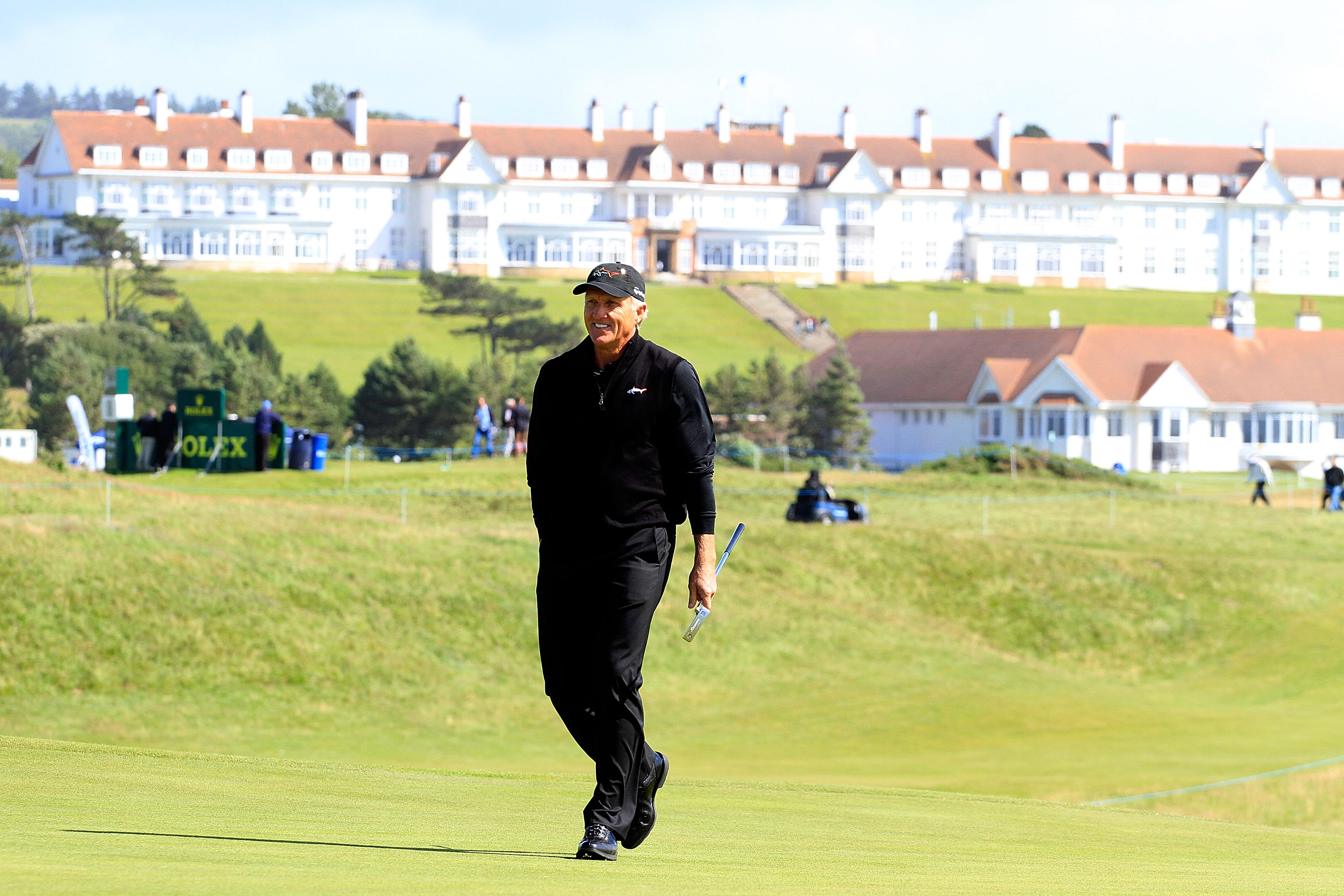 TURNBERRY, SCOTLAND - JULY 27:  Greg Norman of Australia in action on the 6th green during the second round of the Senior Open Championship played over the Ailsa Course on July 27, 2012 in Turnberry, United Kingdom.  (Photo by Phil Inglis/Getty Images)