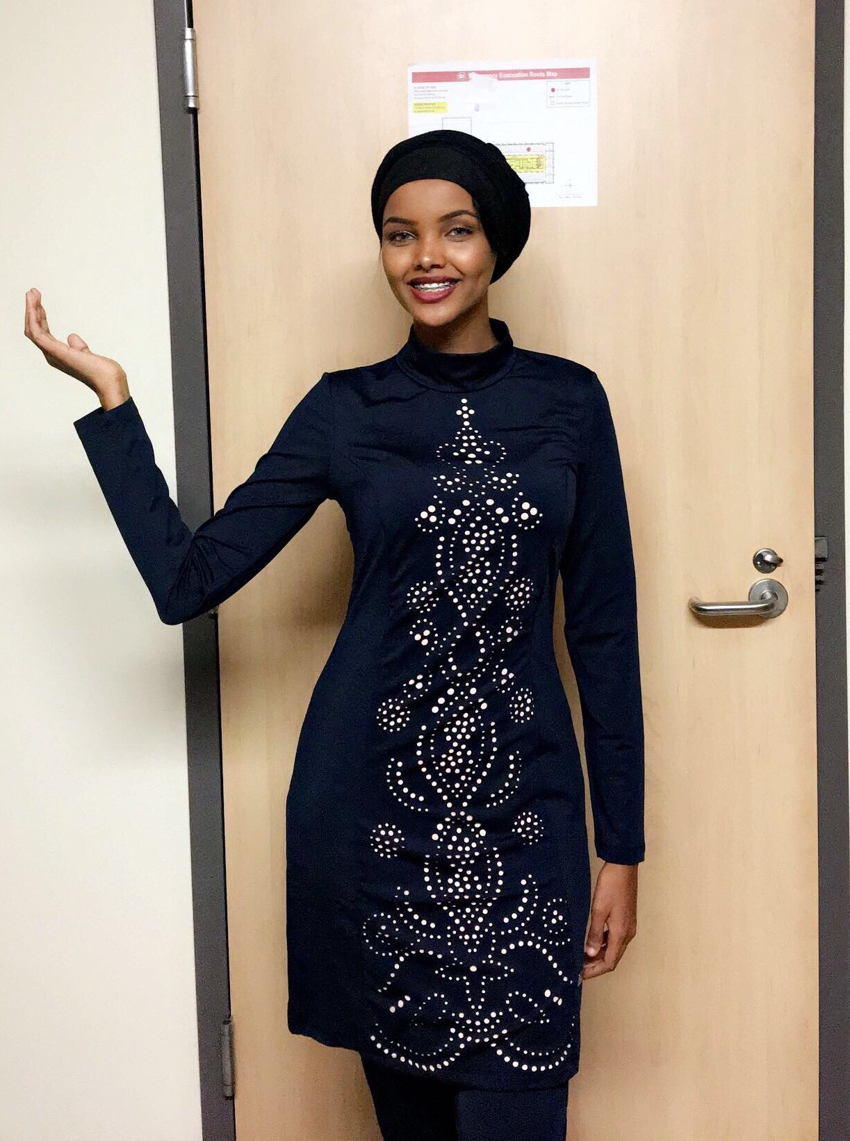In this Nov. 11, 2016, photo provided by Alishba Kazmi, Halima Aden poses for a photo at St. Cloud State University in St. Cloud, Minn.