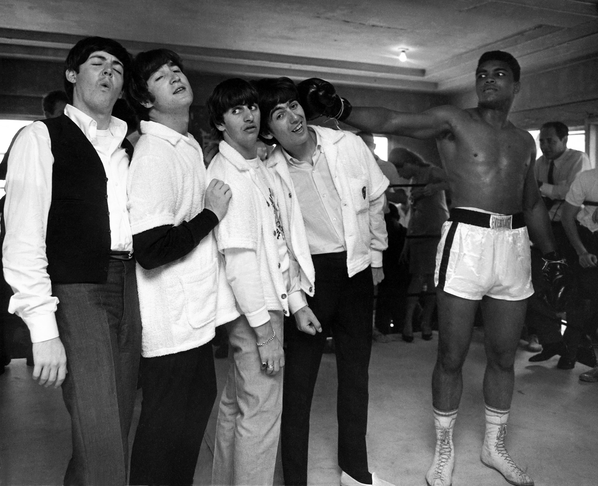 The Beatles and Cassius Clay, 5th street Gym, Miami, 1964.