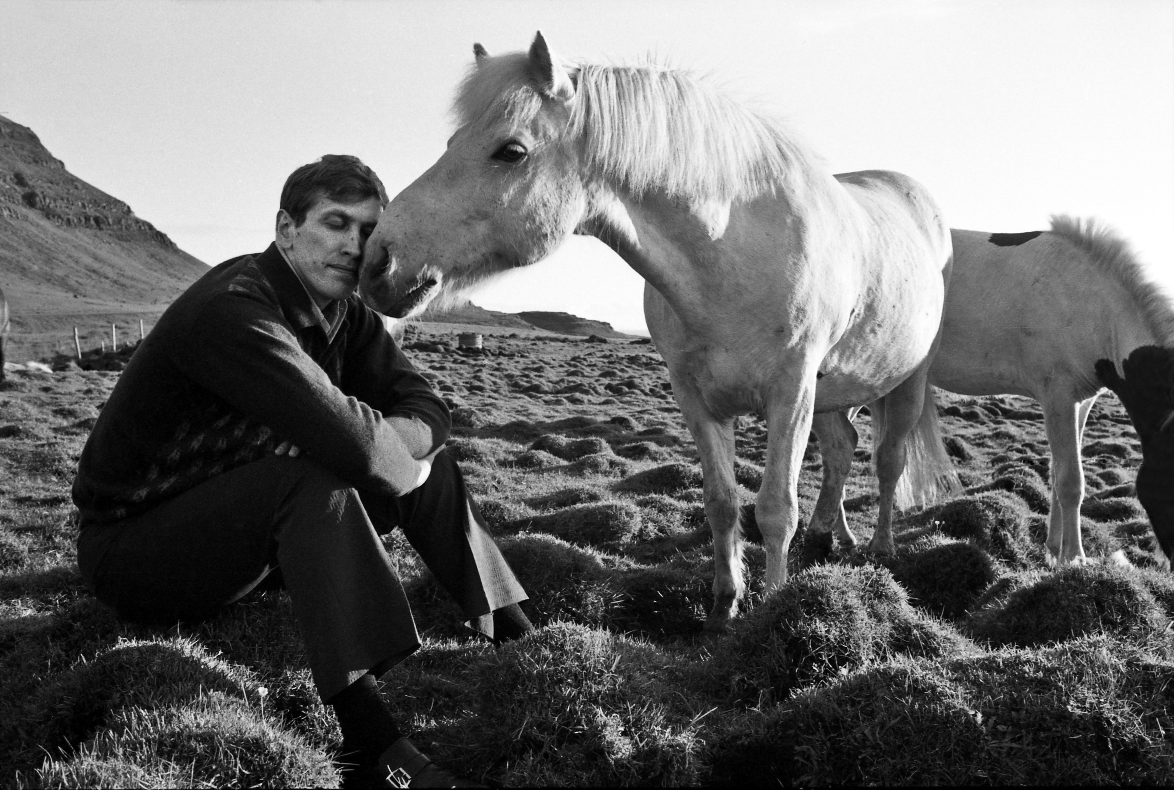 Bobby Fischer with horse in Reykjavik, Iceland, 1972.