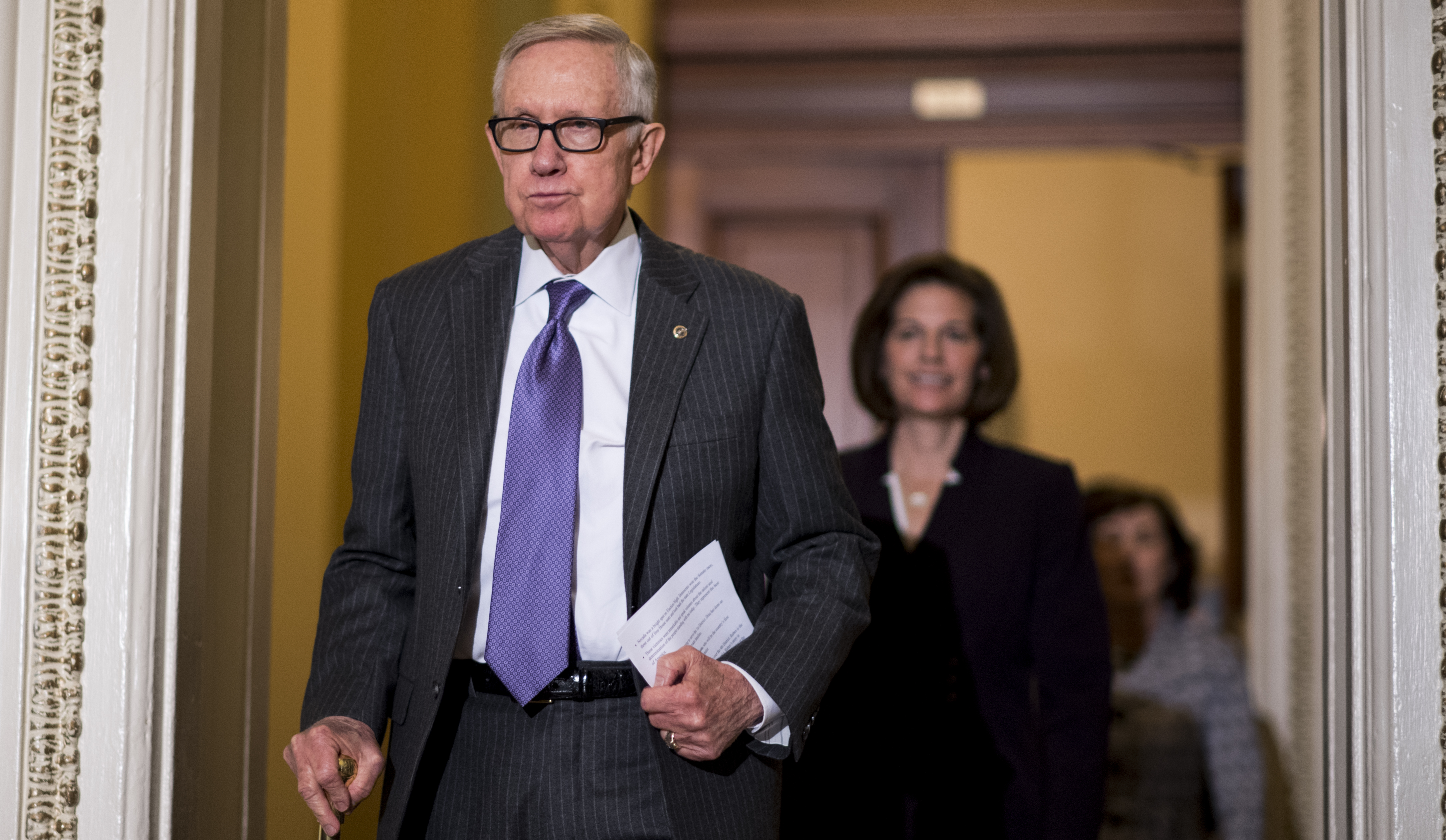 Senate Minority Leader Harry Reid, D-Nev., leads the Democrats of the Nevada delegation to the podium for a media availability in the U.S. Capitol on Monday, Nov. 14, 2016.